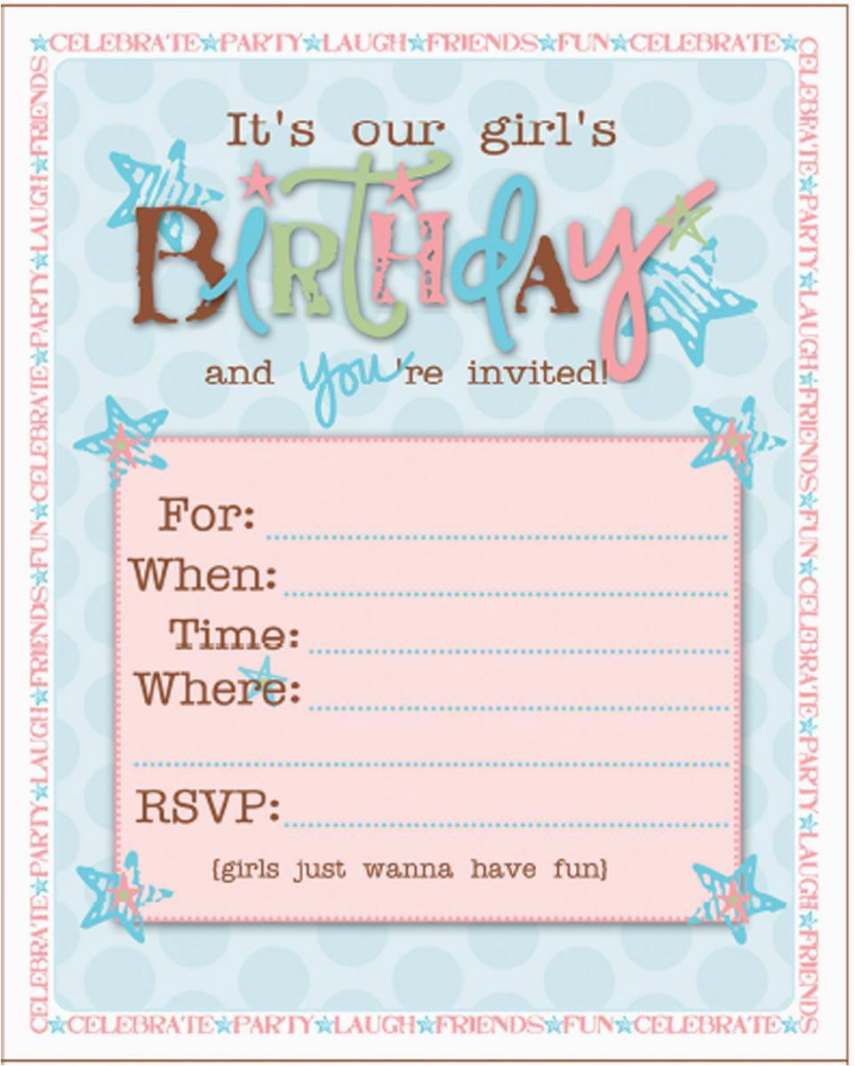 Teenage Girl Birthday Invitations Free Printable   Birthdaybuzz - Free Printable Girl Birthday Invitations