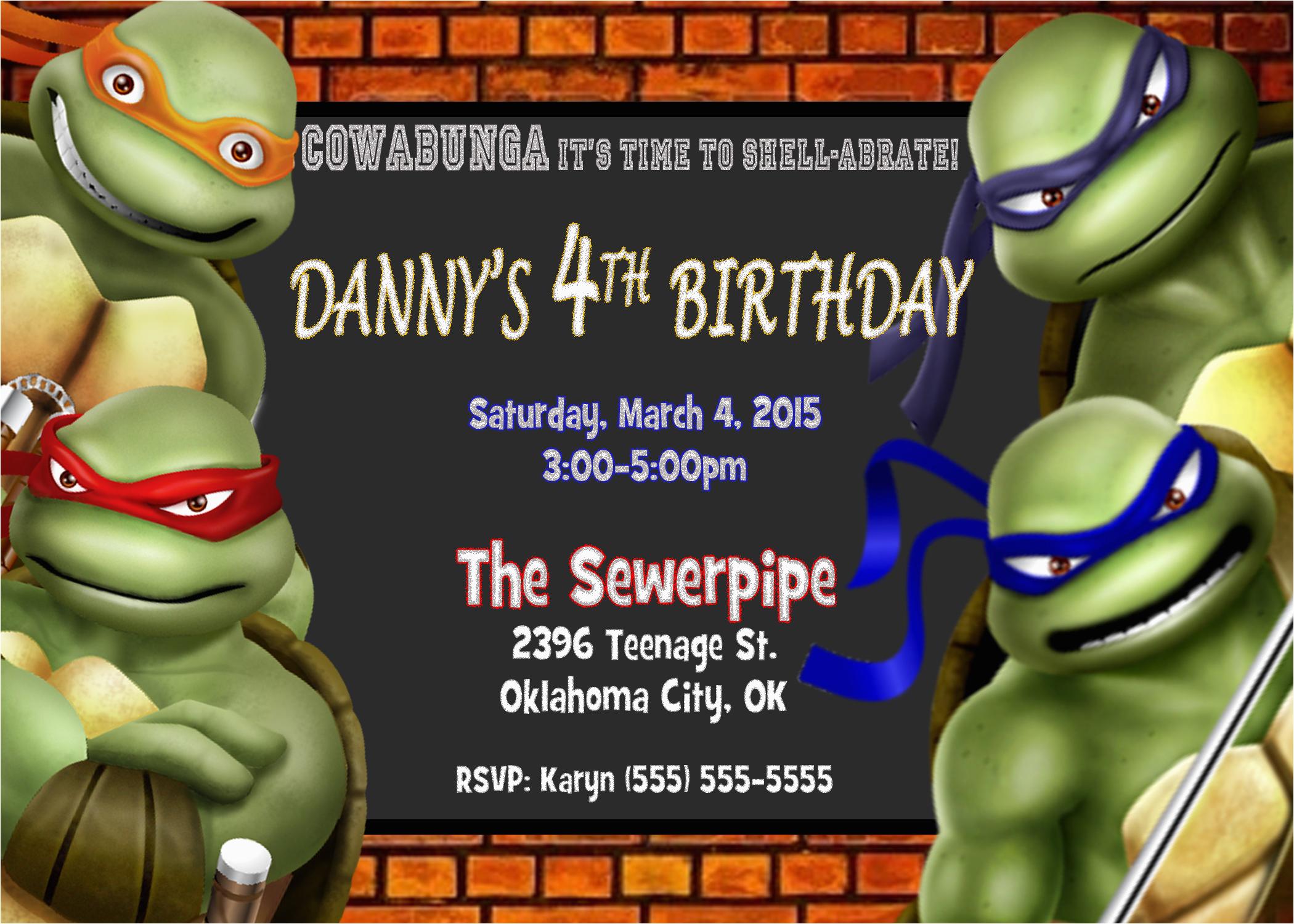 Teenage Mutant Ninja Turtles Birthday Invitations Free Teenage - Free Printable Tmnt Birthday Party Invitations