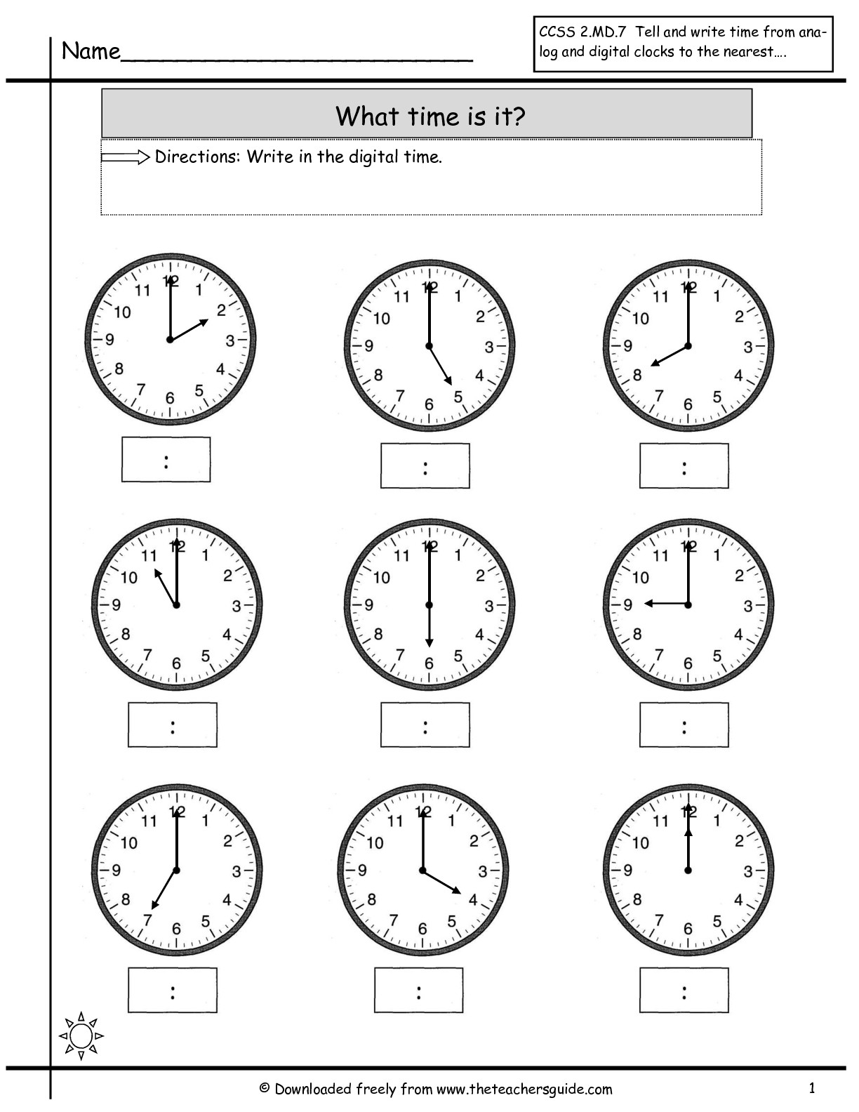 Telling Time Worksheets From The Teacher's Guide - Free Printable Telling Time Worksheets For 1St Grade