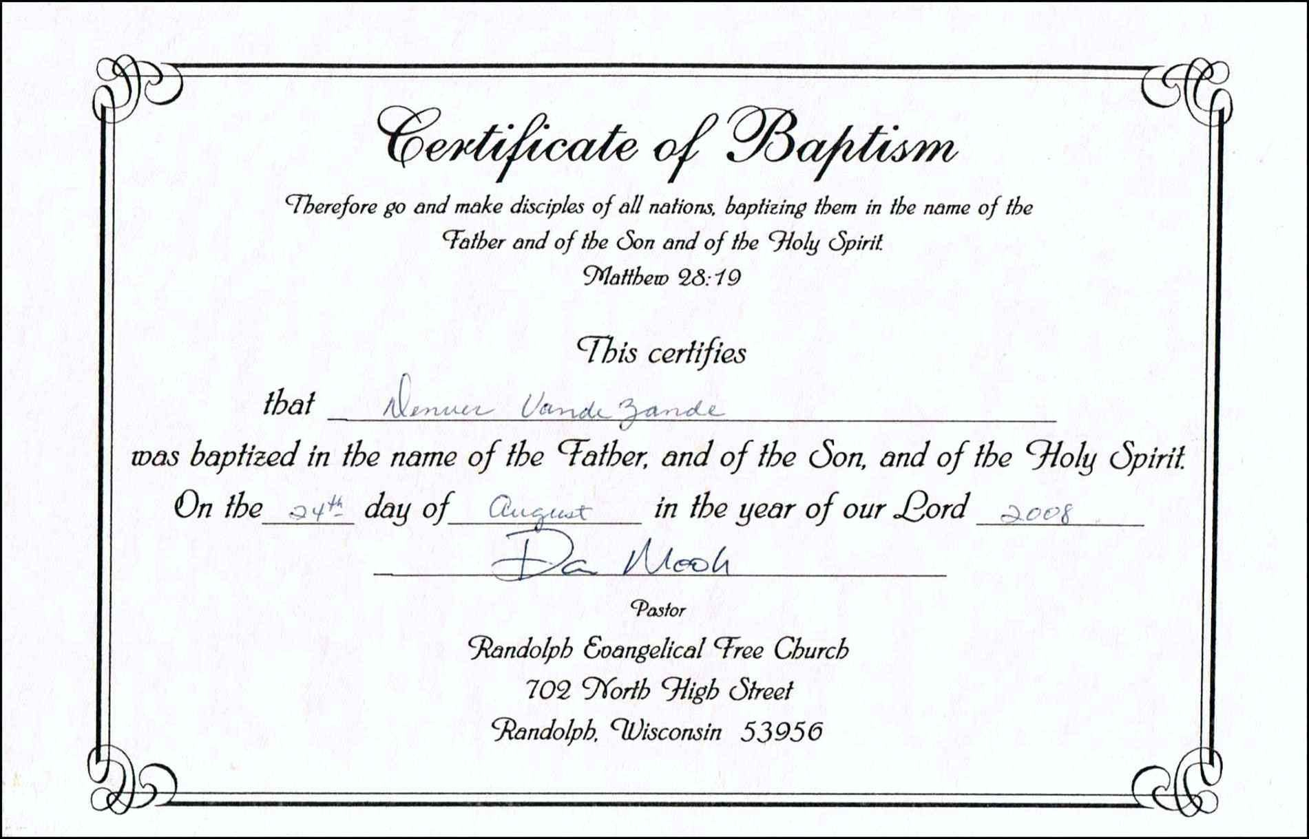 Template Design. Baptism Certificate Template - Collection Of - Free Online Printable Baptism Certificates