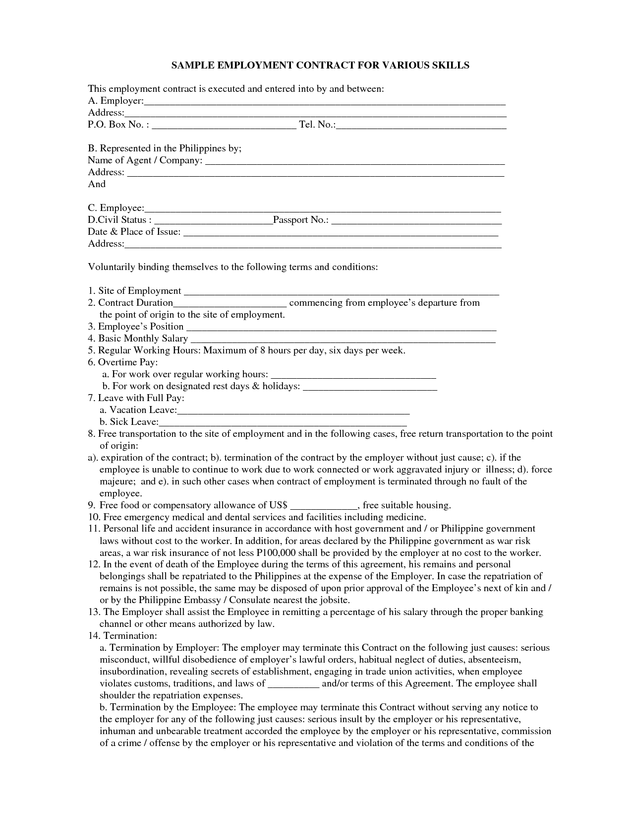 Template: Employment Contract Template - Free Printable Employment Contracts