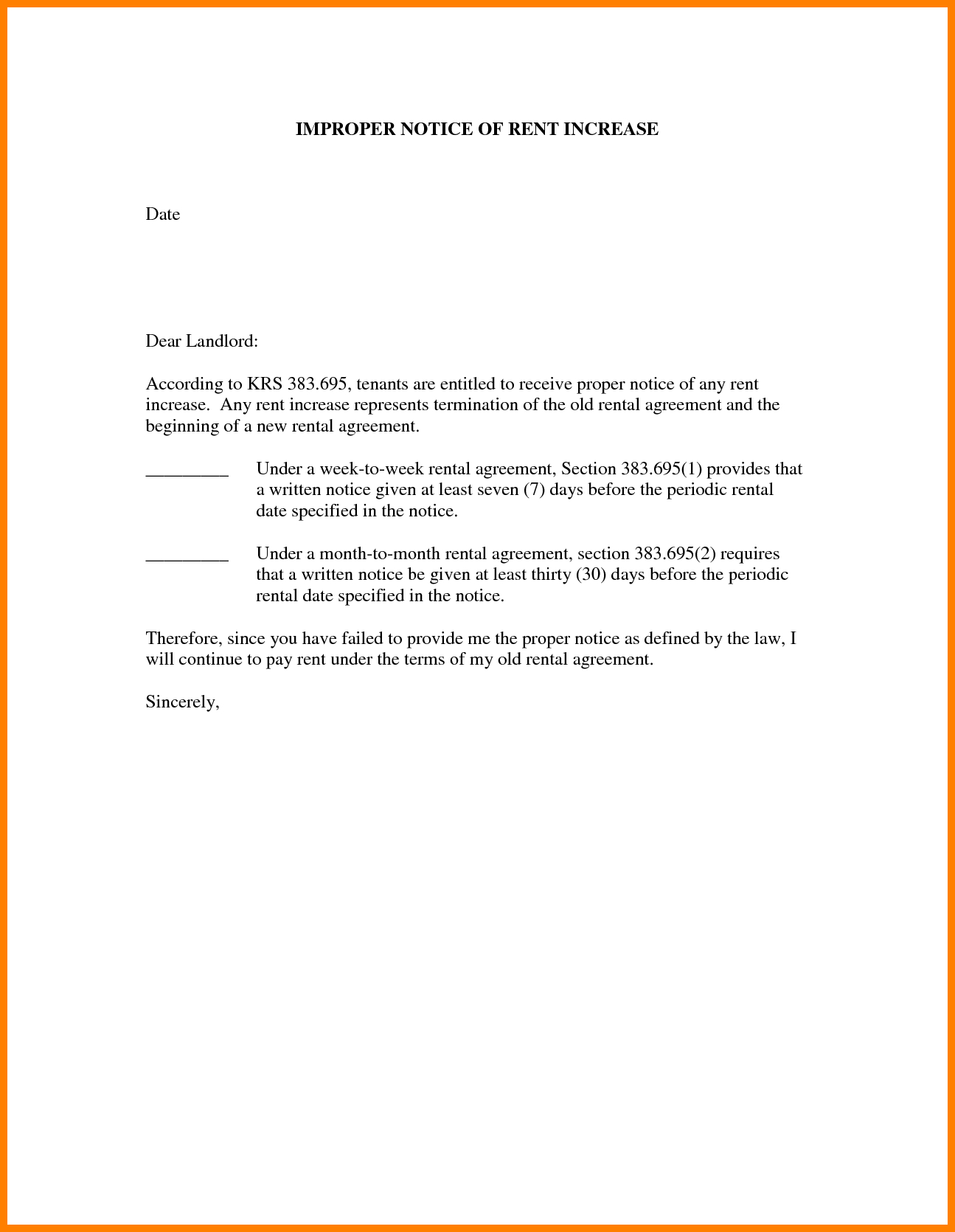 Template: Free Printables Notice Of Rent Increase. Notice Of Rent - Free Printable Rent Increase Letter