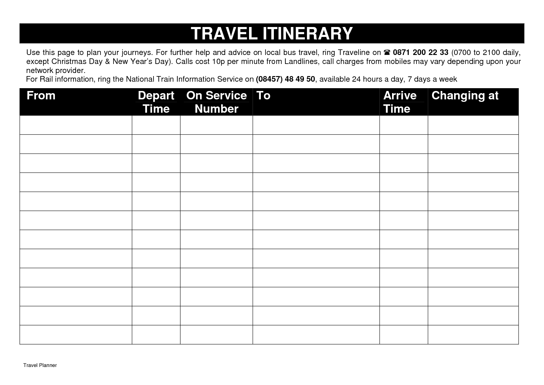 Template: Free Travel Itinerary Template. Travel Itinerary Template - Free Printable Itinerary