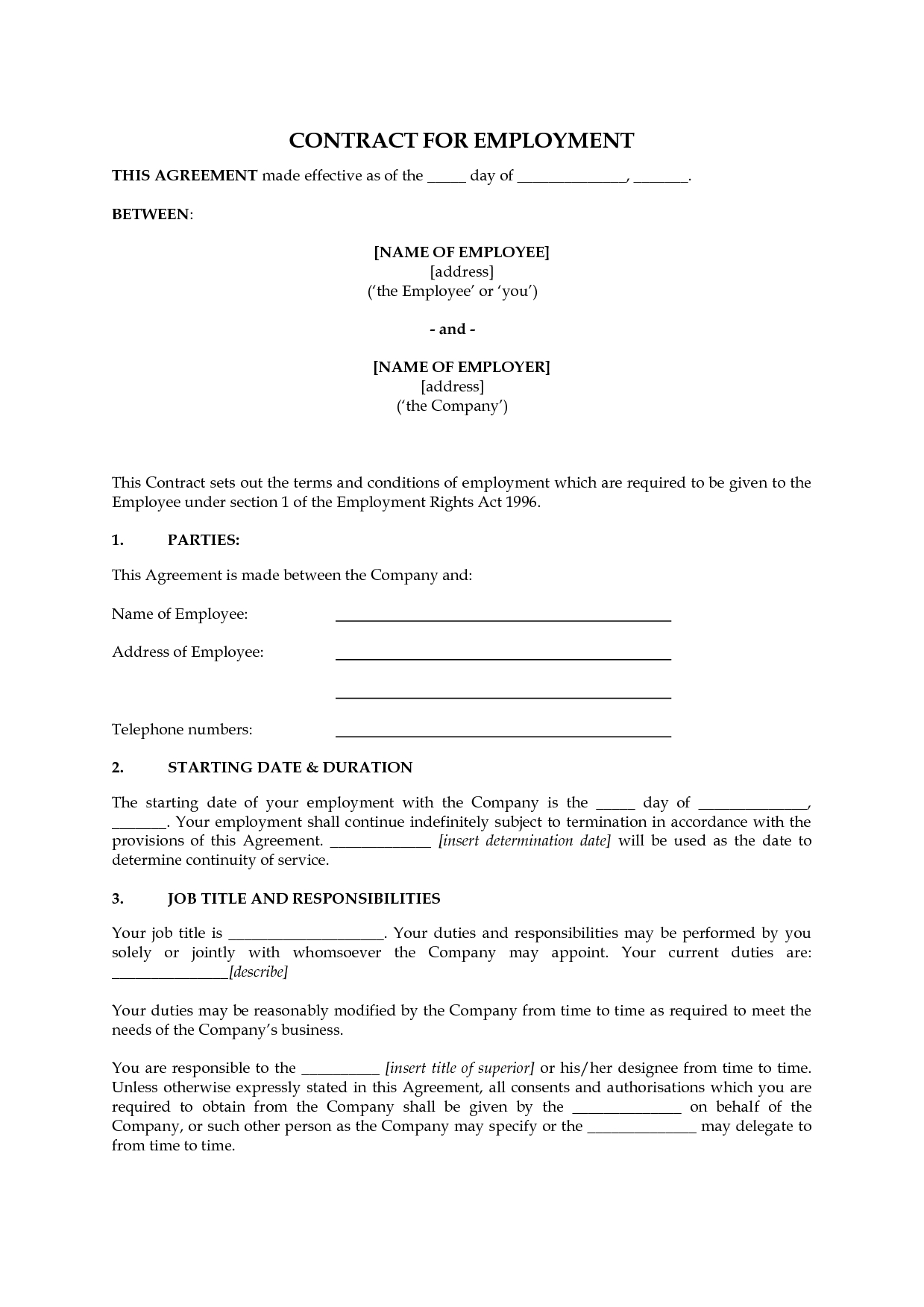 picture regarding Free Printable Employment Contracts identify Template: Printable Careers Agreement Template. Careers
