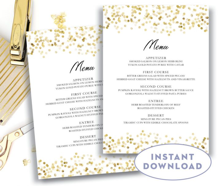 Free Printable Wedding Menu Card Templates