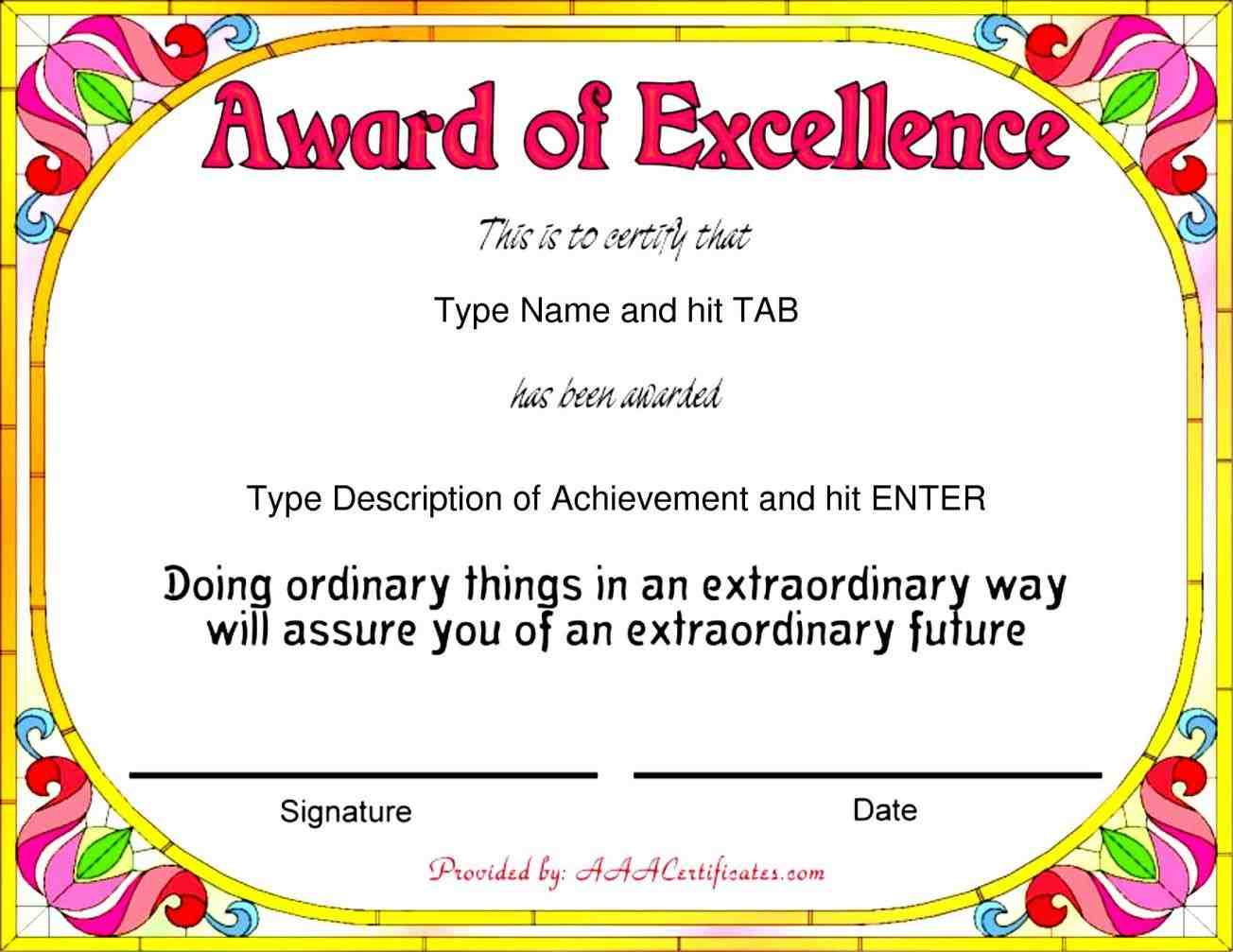 Template-Word-For-Award-Of-Excellence-With-Colorful-Flowers-End-The - Free Printable Certificates And Awards