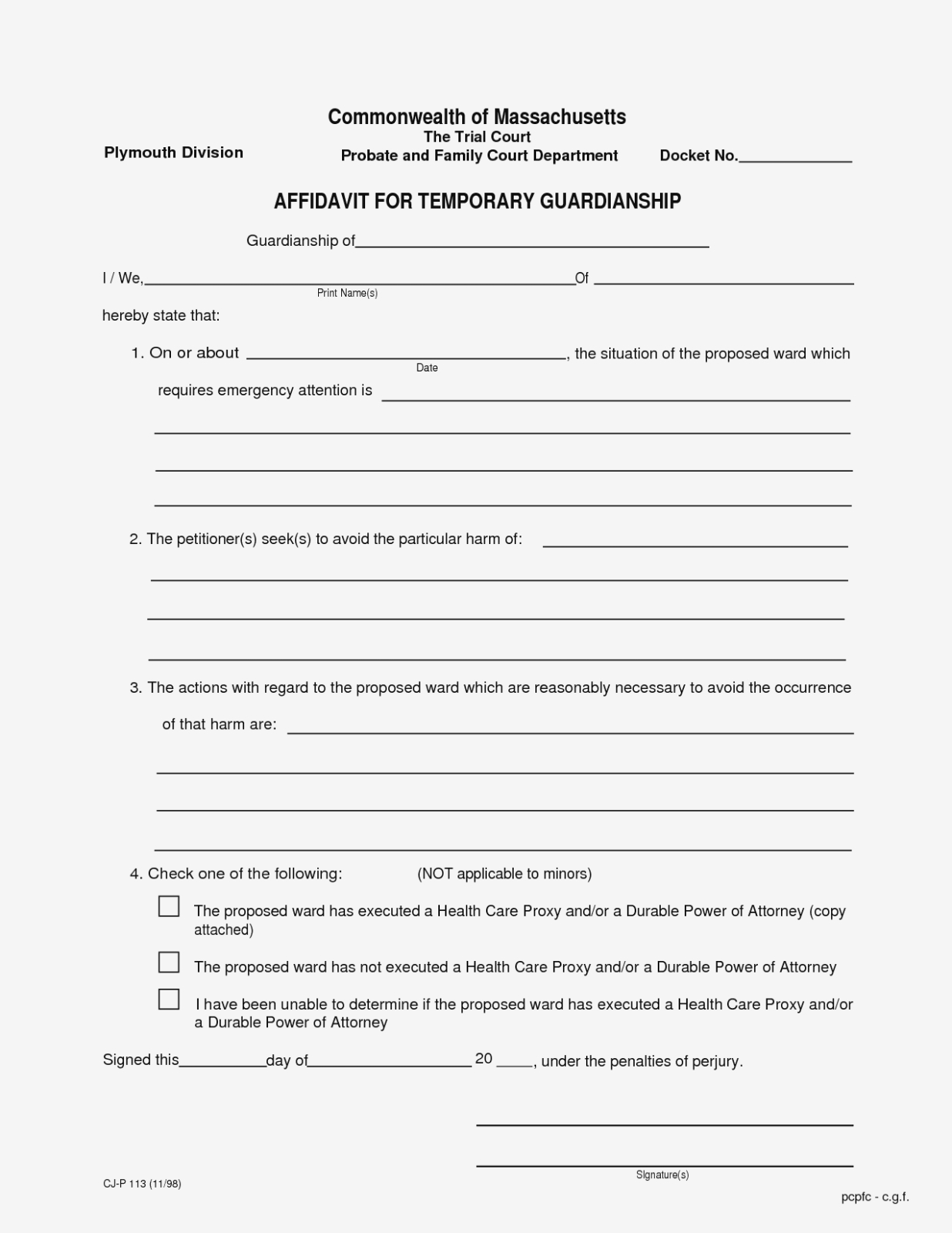 Temporary Guardianship Form Texas New Temporary Custody Form - Free Printable Child Guardianship Forms