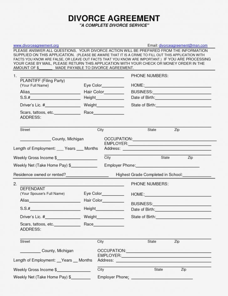 Free Printable Divorce Papers Nevada