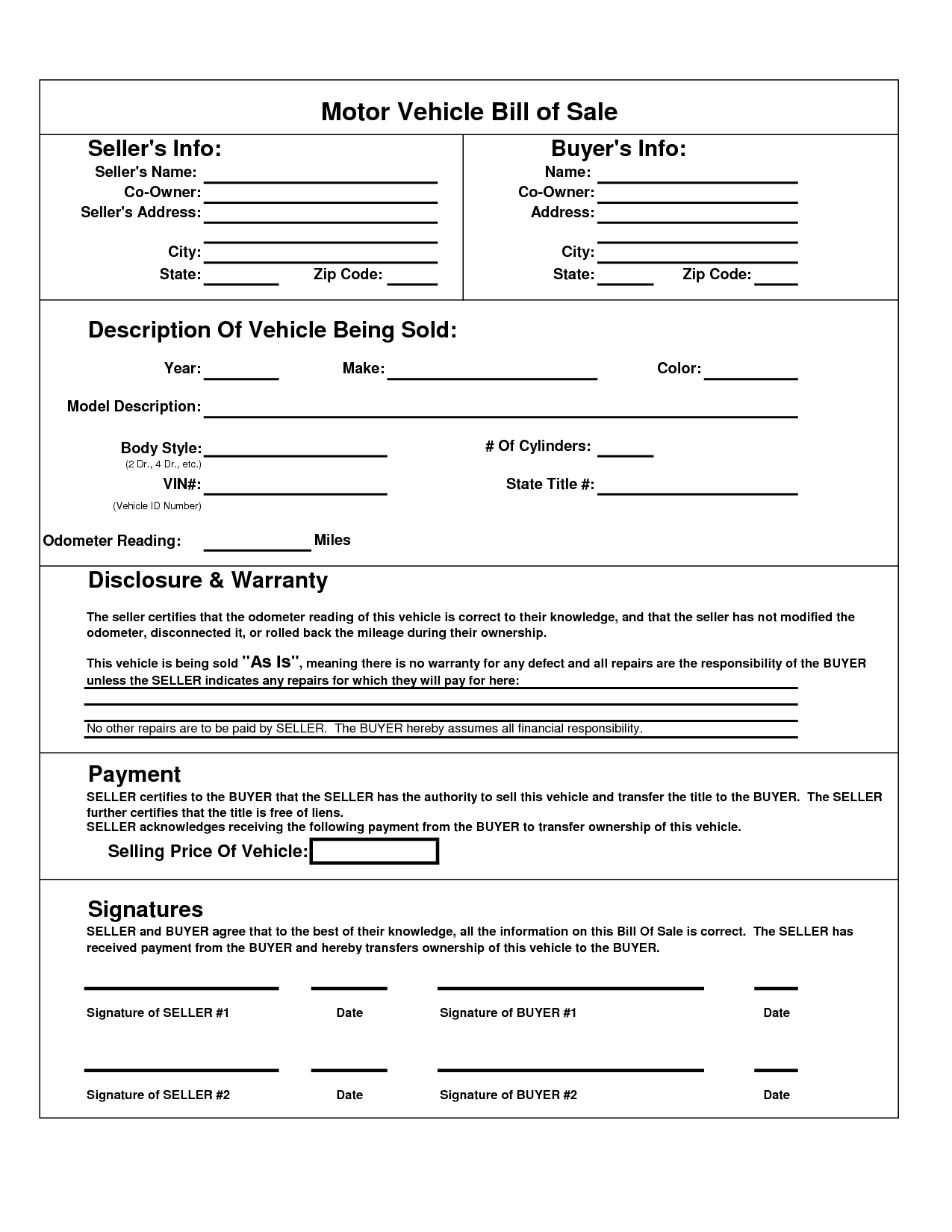 Texas Motor Vehicle Bill Sale Form | Books Worth Reading - Free Printable Bill Of Sale For Car