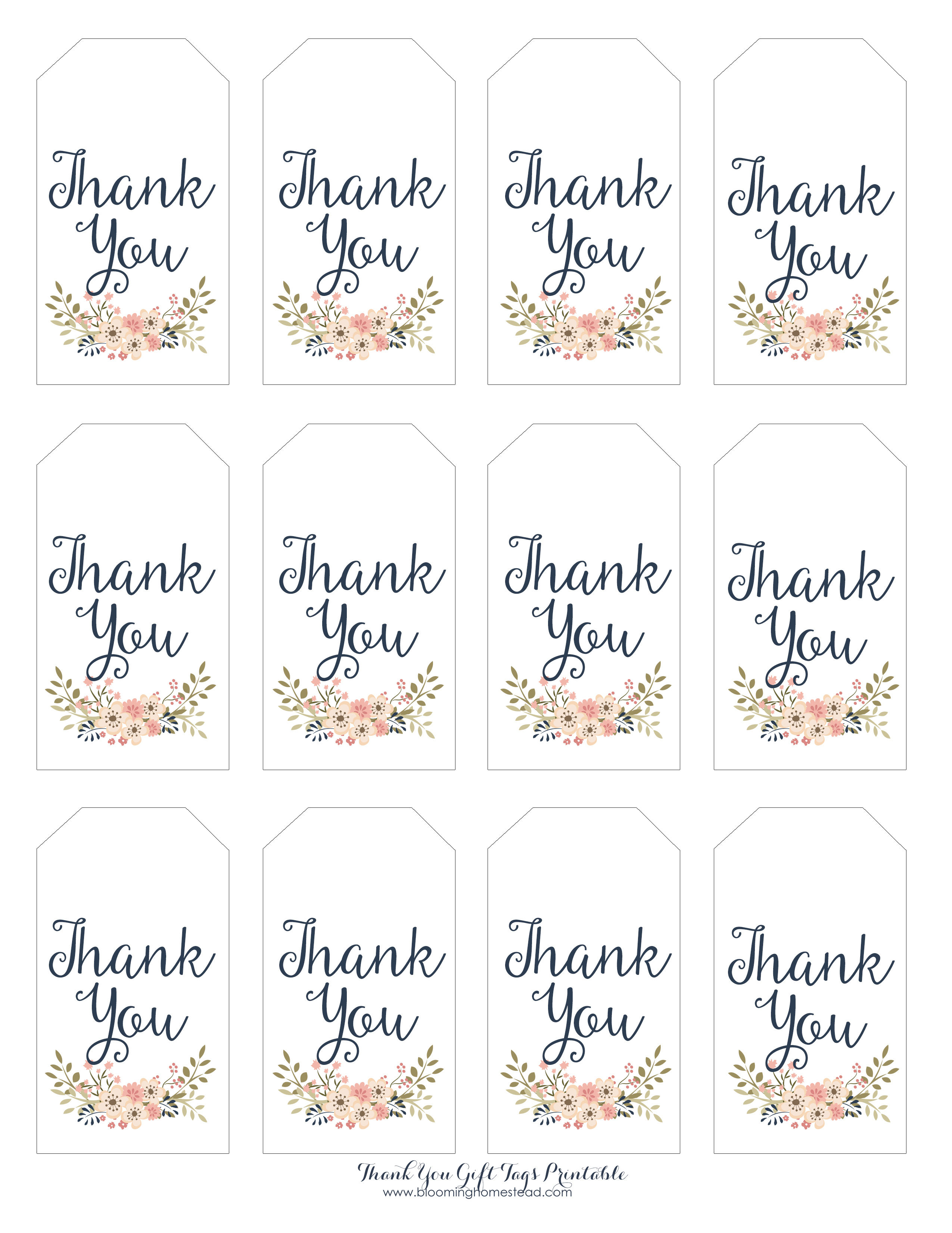 Thank You Gift Tags - Blooming Homestead - Free Printable Thank You Tags