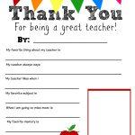 Thank You Teacher Free Printable | School Days | Pinterest | Teacher   All About My Teacher Free Printable