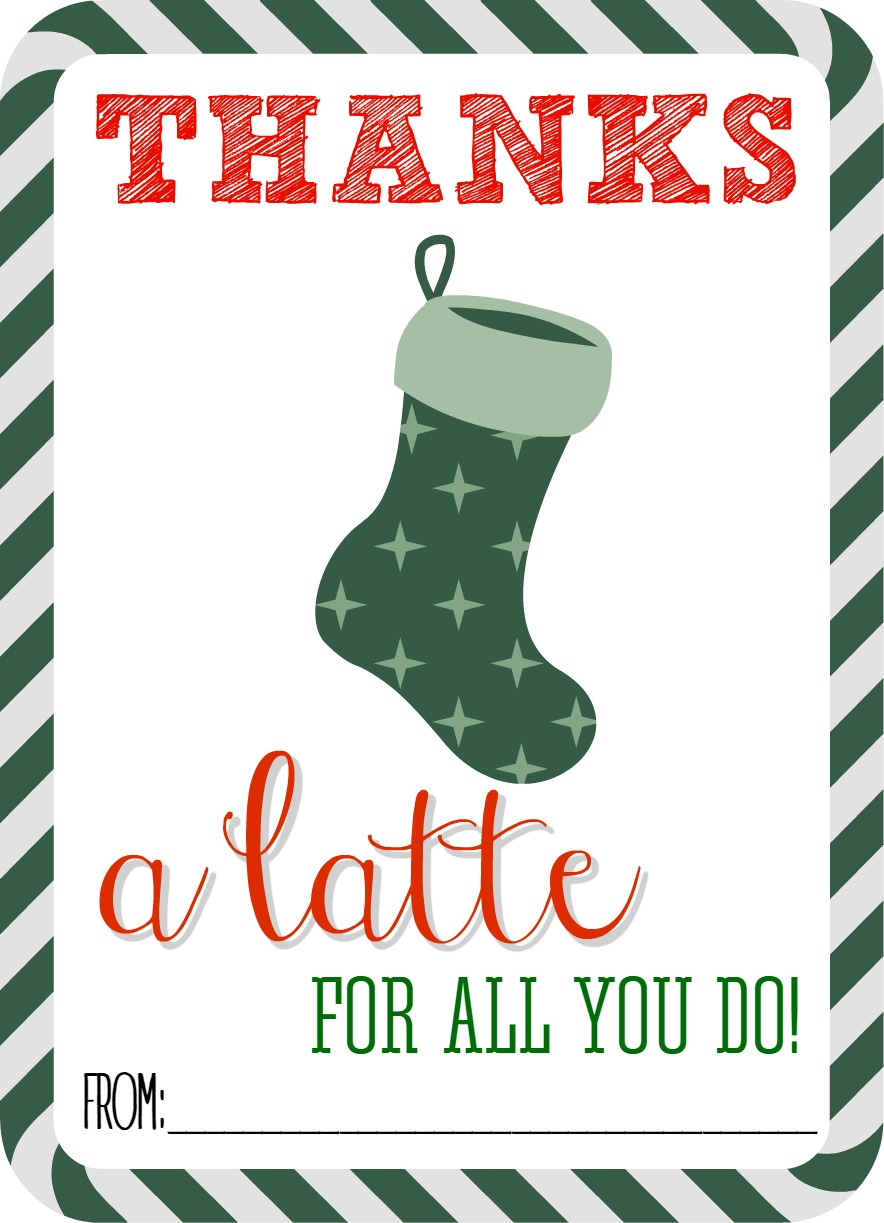 Thanks A Latte Free Printable - Thanks A Latte Free Printable