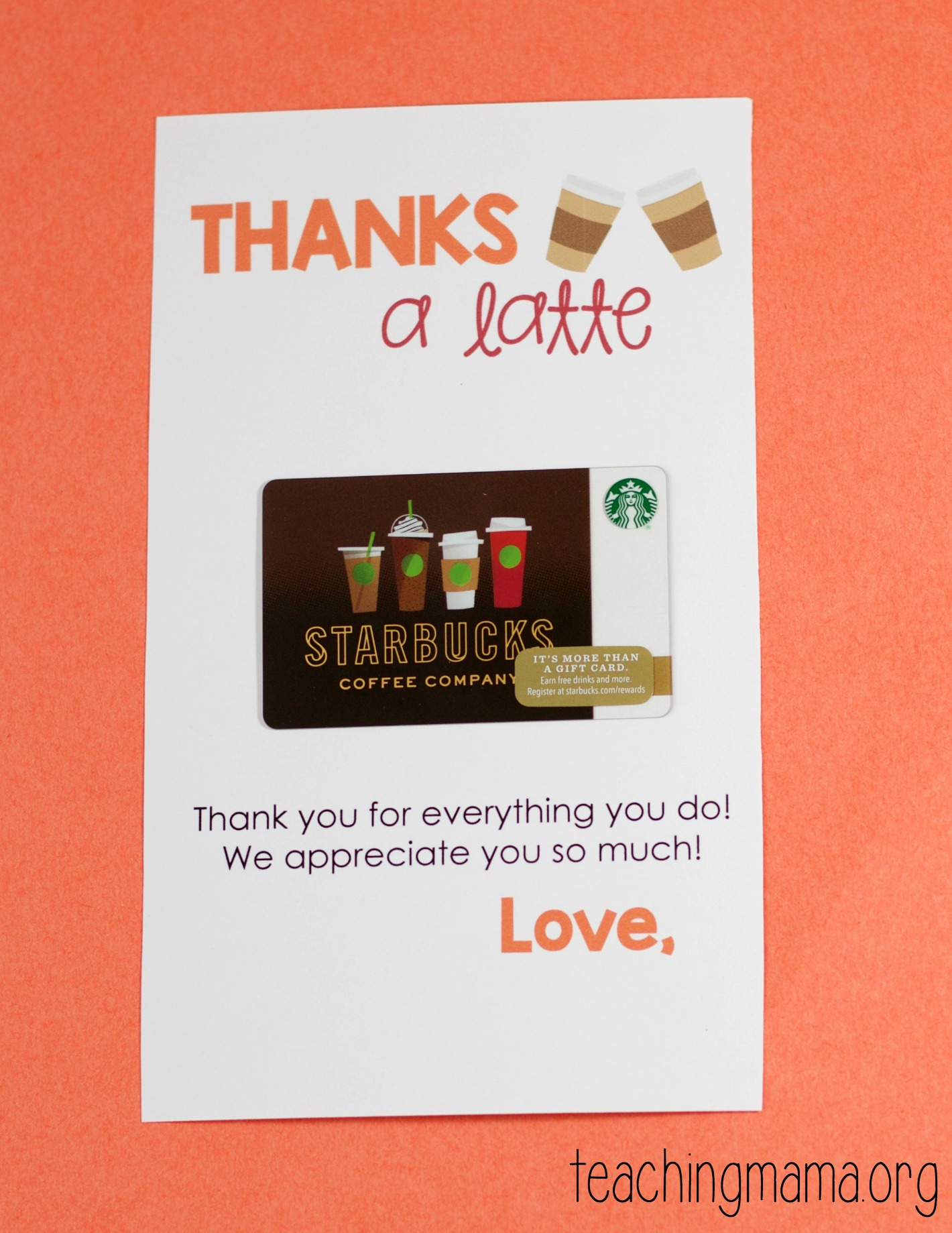 Thanks A Latte Printable - Thanks A Latte Free Printable Card