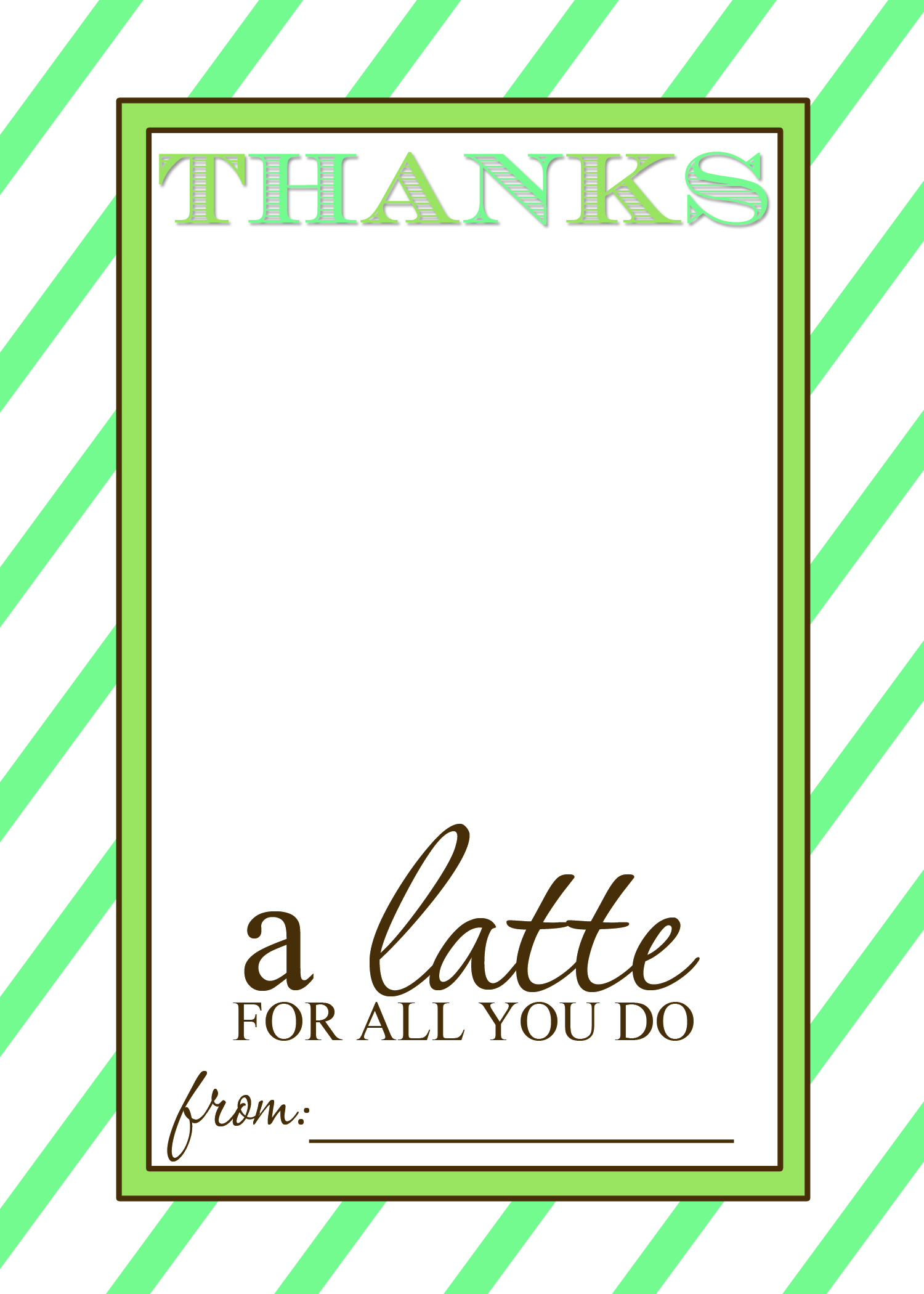 "Thanks A ""latte"" Teacher Appreciation Gift Idea With Free Printable - Thanks A Latte Free Printable"