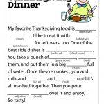 Thanksgiving Dinner Mad Lib | Esl Land | Thanksgiving Mad Lib, Mad   Free Printable Thanksgiving Mad Libs