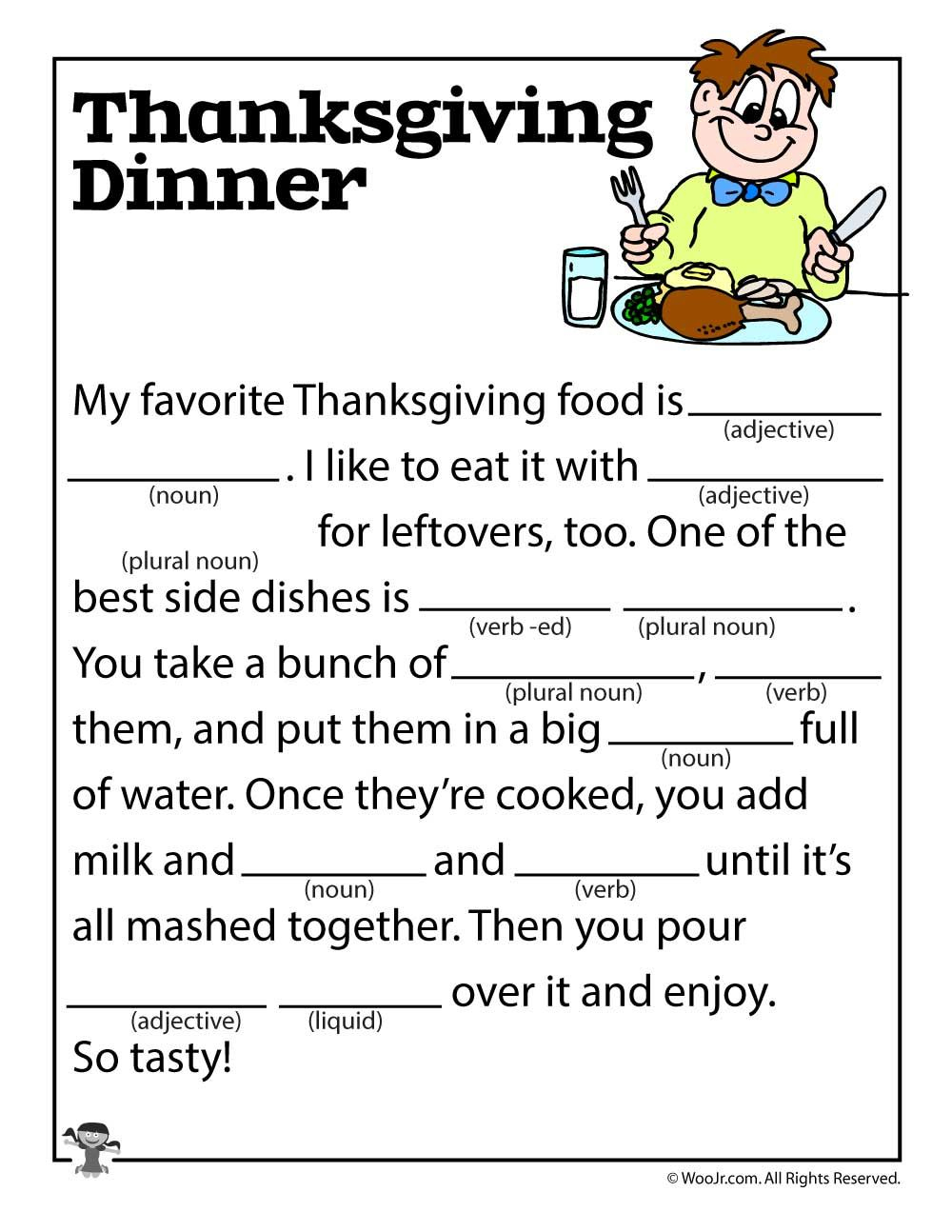 Thanksgiving Dinner Mad Lib | Esl Land | Thanksgiving Mad Lib, Mad - Free Printable Thanksgiving Mad Libs
