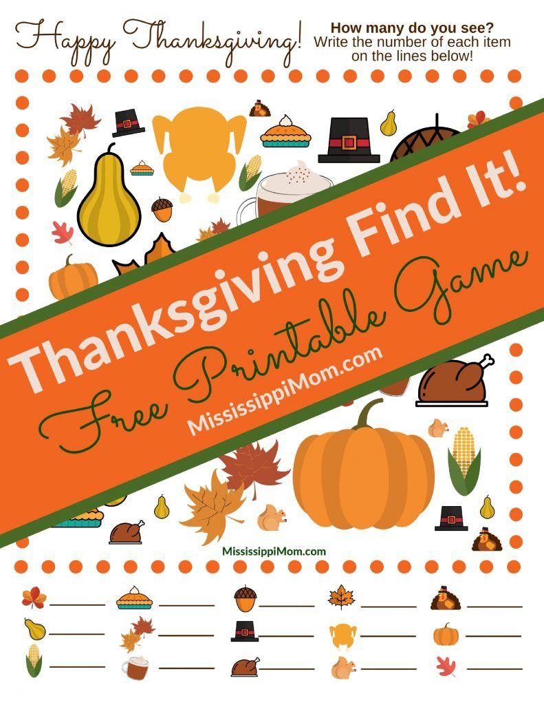 Thanksgiving Find It! Free Printable Game | Mississippimom - Free Printable Thanksgiving Games For Adults