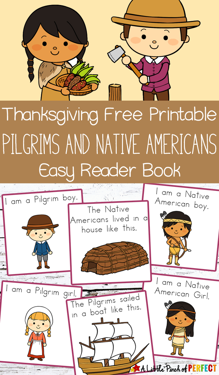 Thanksgiving Free Printable Easy Reader Book: Pilgrims And Native - Free Thanksgiving Mini Book Printable