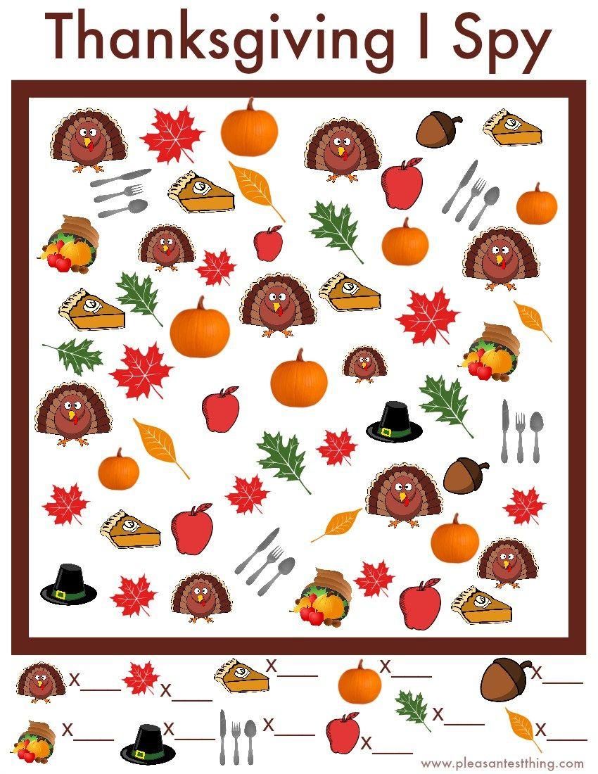 Thanksgiving I Spy Game - Free Printable | Thanksgivingpilgrams - Thanksgiving Games Printable Free