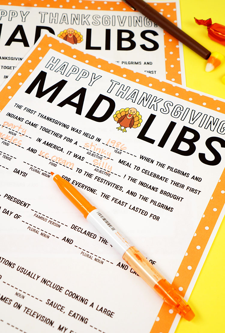 Thanksgiving Mad Libs Printable Game - Happiness Is Homemade - Free Printable Thanksgiving Mad Libs