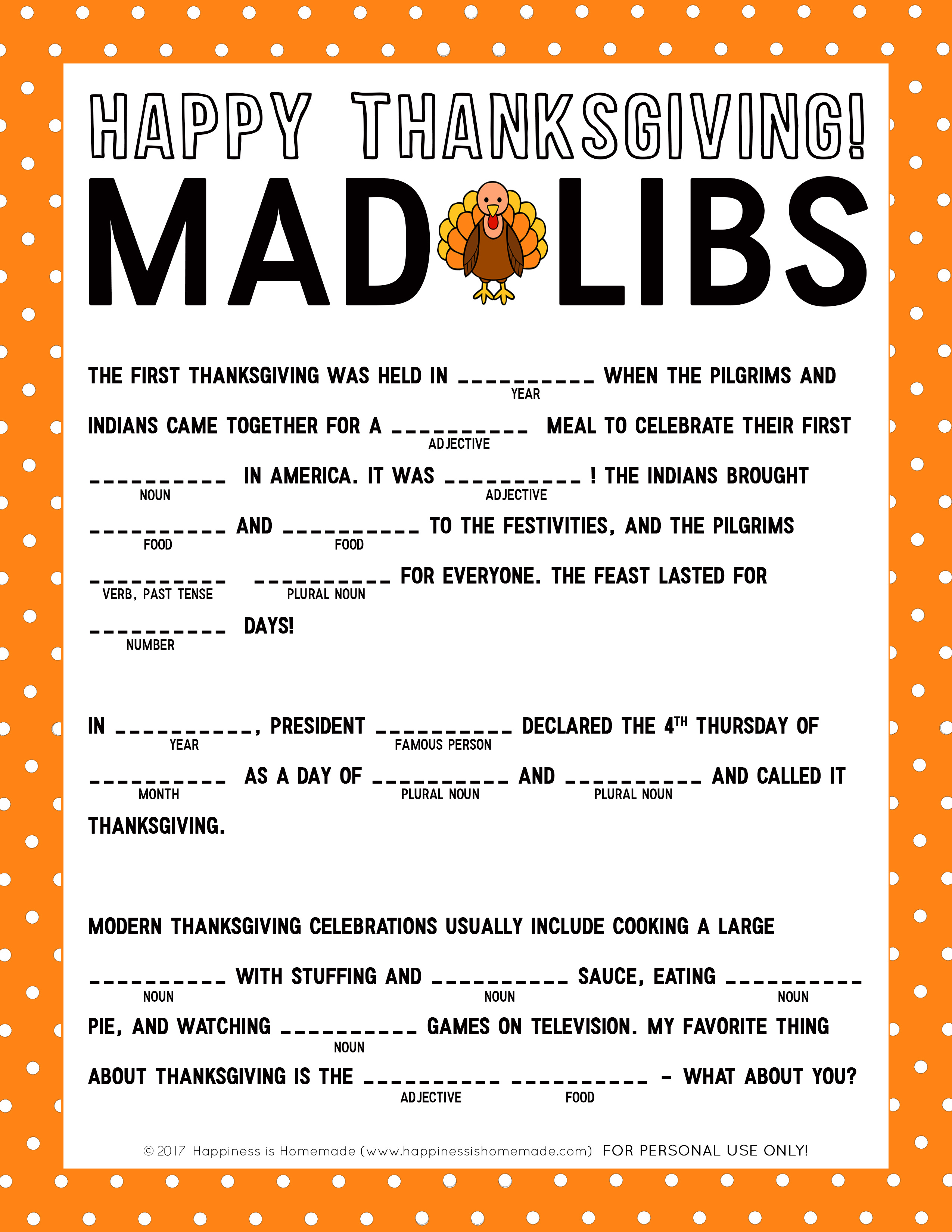 Thanksgiving Mad Libs Printable Game - Happiness Is Homemade - Thanksgiving Games Printable Free
