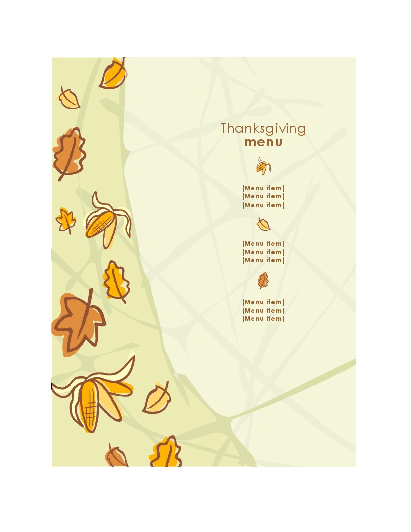 Thanksgiving Menu - Free Printable Thanksgiving Menu Template