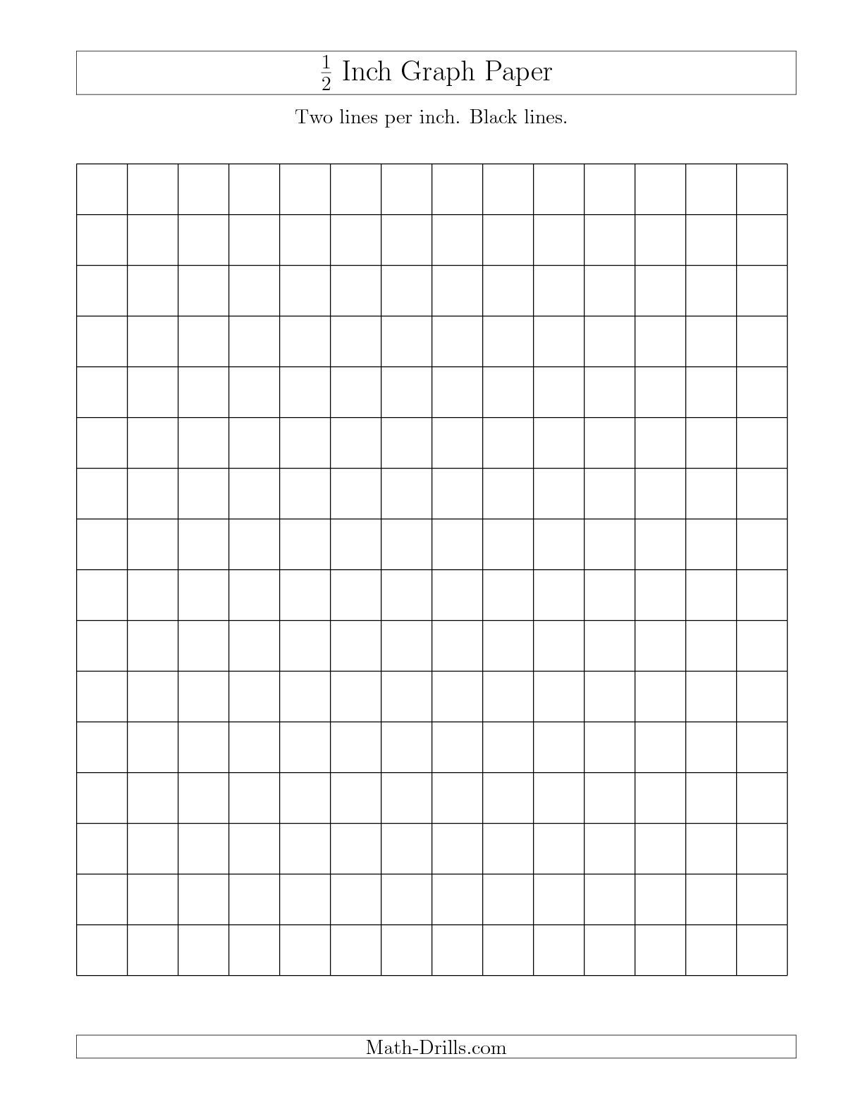 The 1/2 Inch Graph Paper With Black Lines (A) Math Worksheet From - Half Inch Grid Paper Free Printable