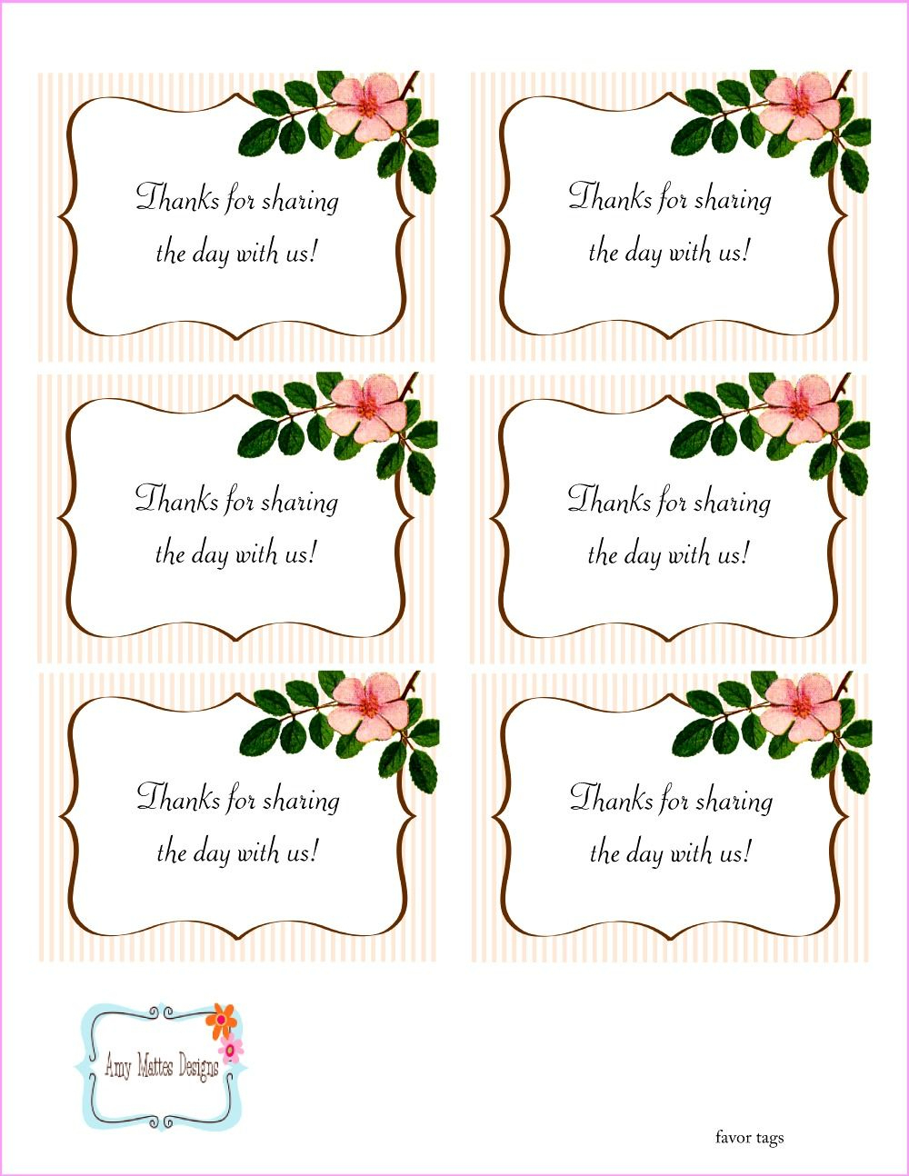The Beautiful Wedding Favor Tags As Our Identity: Free Printable - Free Printable Wedding Thank You Tags