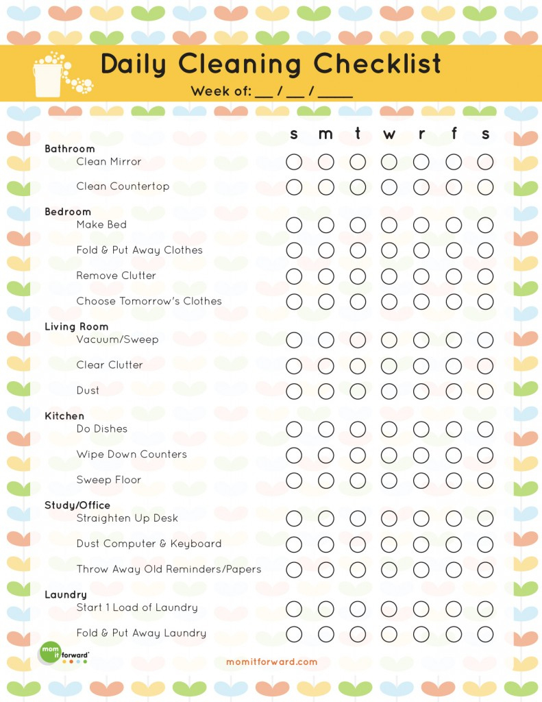 The Best Free Printable Cleaning Checklists - Sarah Titus - Free Printable Housework Checklist