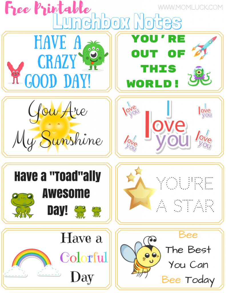 The Cutest Printable Lunchbox Notes For Boys And Girls - Free Printable Lunchbox Notes