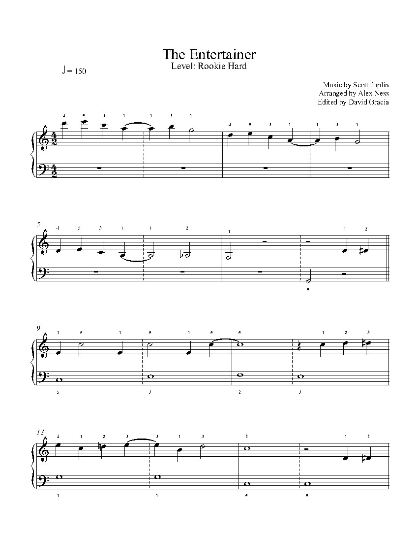 The Entertainerscott Joplin Piano Sheet Music   Rookie Level - Free Printable Sheet Music For The Entertainer