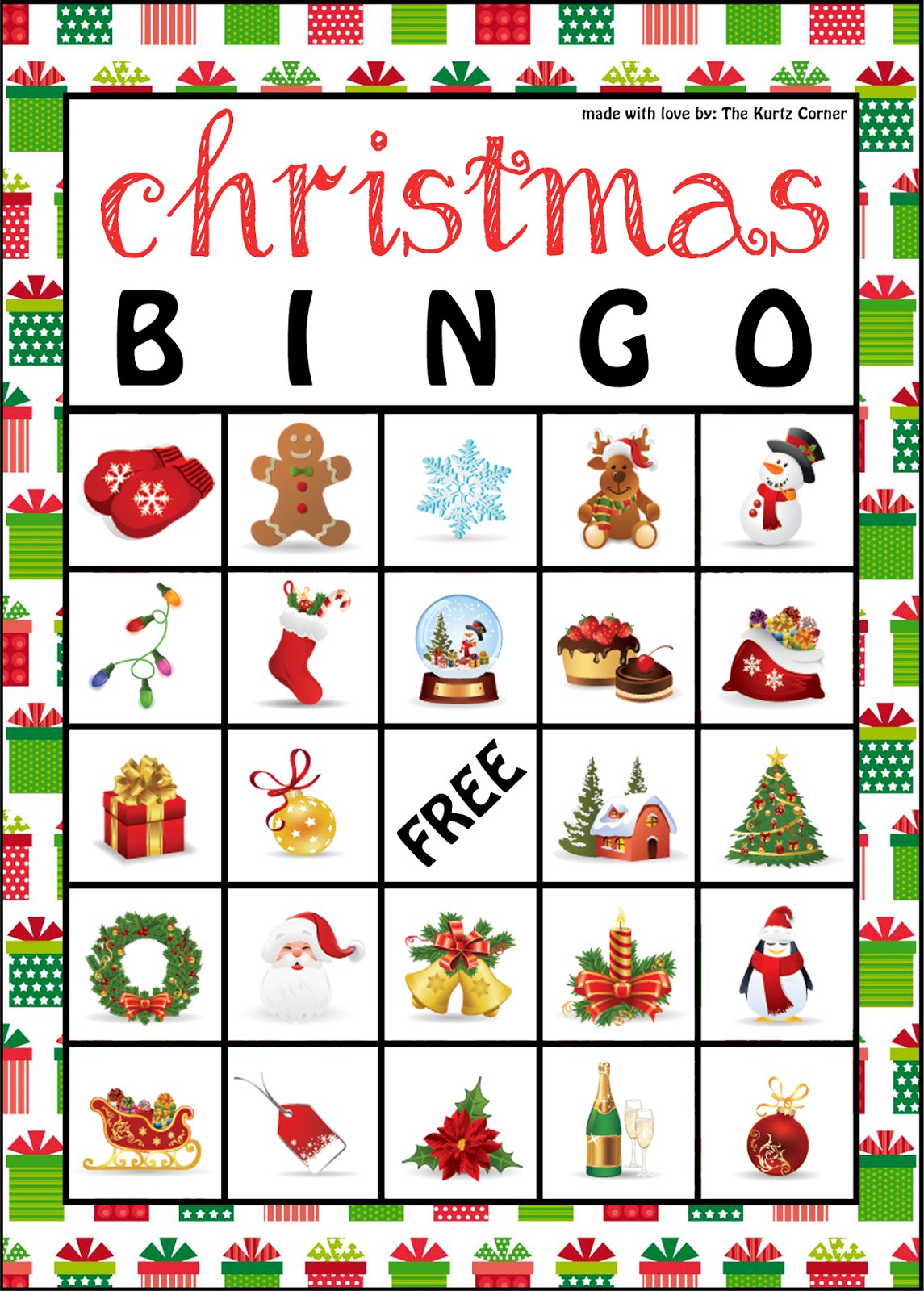 The Kurtz Corner: Free Printable Christmas Bingo Cards | Winter / X - Free Bingo Patterns Printable