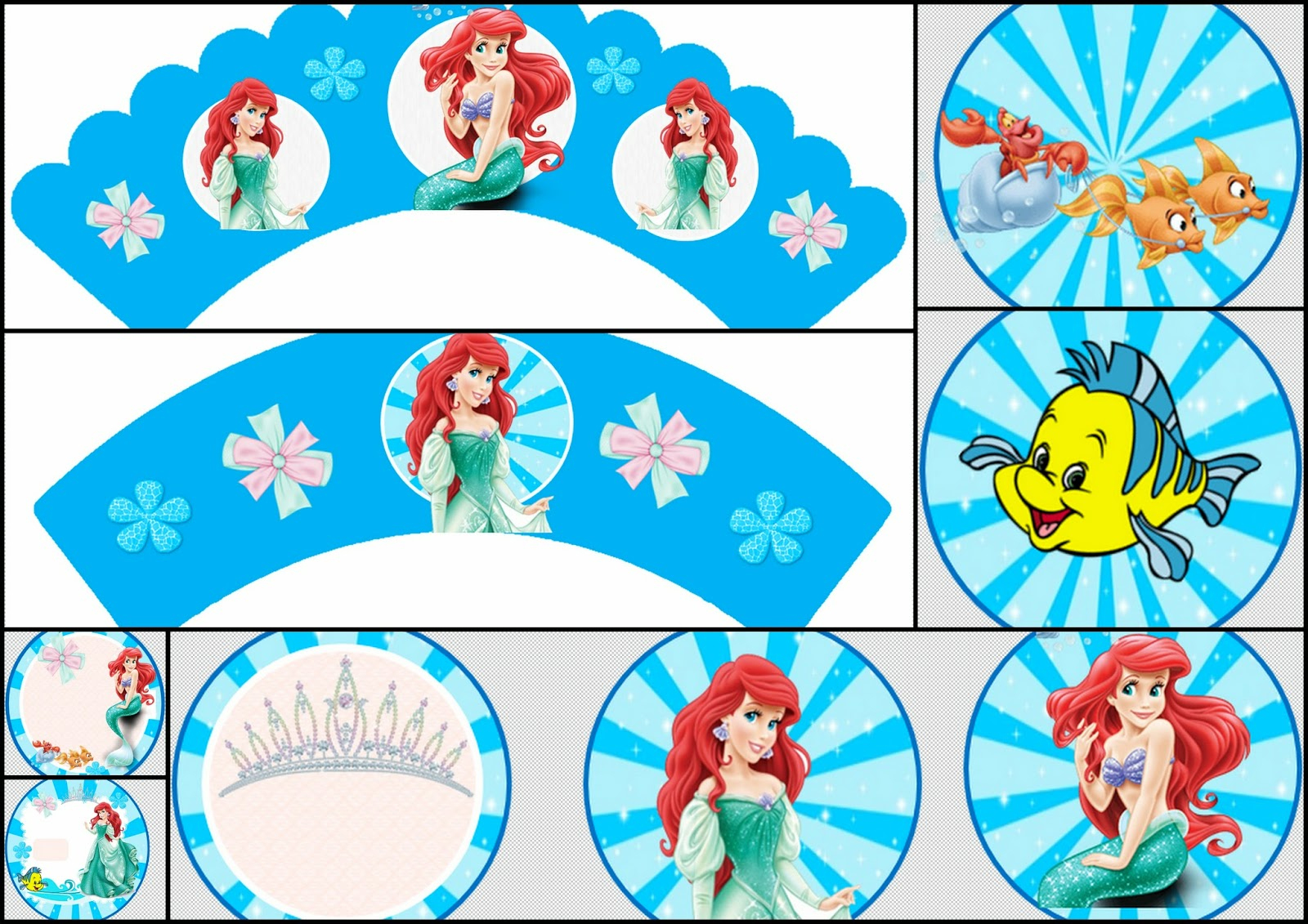 The Little Mermaid: Free Printable Toppers And Wrappers. | Oh My - Free Printable Mermaid Cupcake Toppers