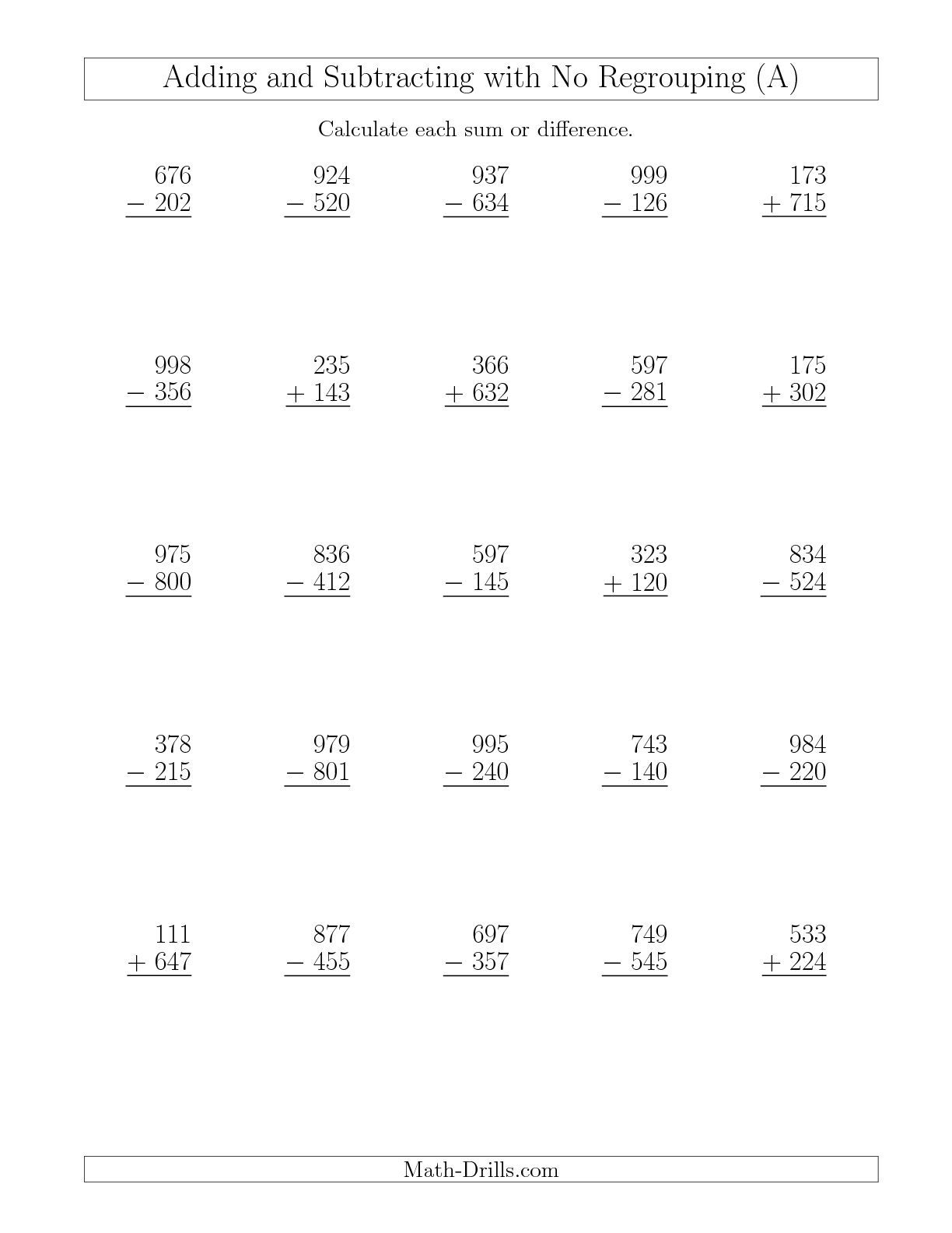 The Mixed Addition And Subtraction Of Three Digit Numbers With No - Free Printable 3 Digit Subtraction With Regrouping Worksheets