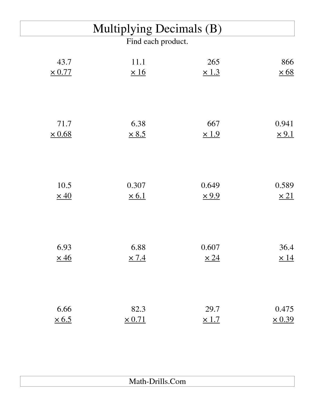 The Multiplying Three-Digittwo-Digit With Various Decimal Places - Free Printable Multiplying Decimals Worksheets