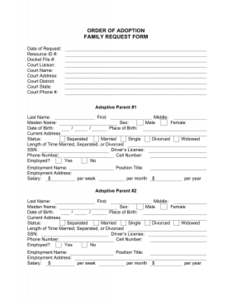 The Order Of Adoption Family Request Form Is A Free Printable With - Free Printable Adoption Papers