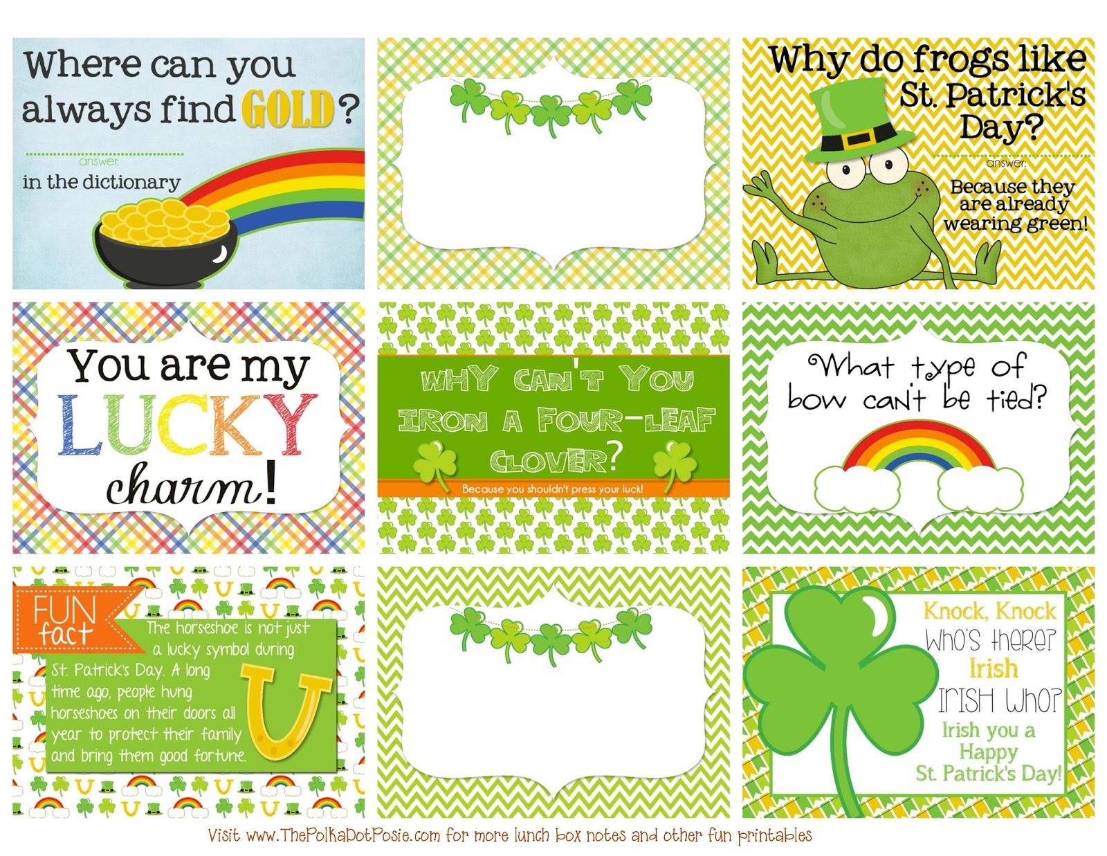 The Polka Dot Posie: Printable St. Patrick's Day Lunch Box Notes - Free Printable St Patrick's Day Card