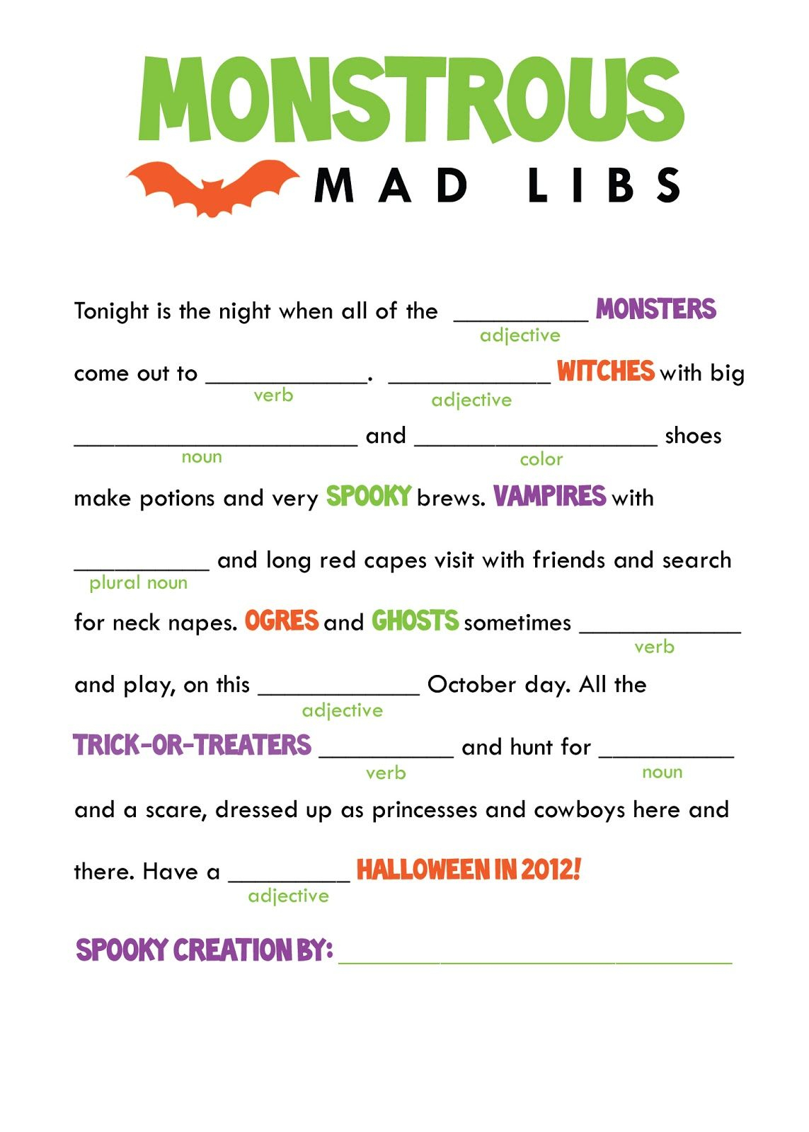 The Smartest And His Artist: Halloween Freebie! Printable Mad Libs - Free Printable Mad Libs