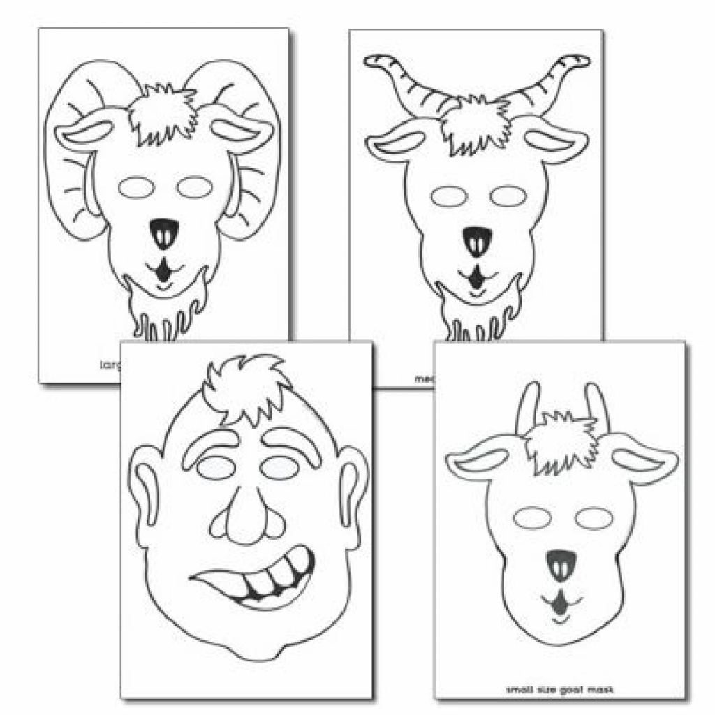 The Three Billy Goats Gruff Colouring In Masks   Free Printable With - Three Billy Goats Gruff Masks Printable Free