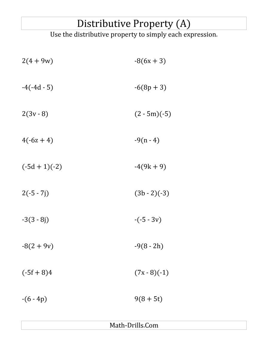 The Using The Distributive Property (Answers Do Not Include - Free Printable Algebra Worksheets With Answers