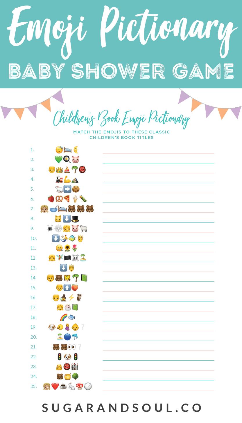 This Free Emoji Pictionary Baby Shower Game Printable Uses Emoji - Baby Name Race Free Printable