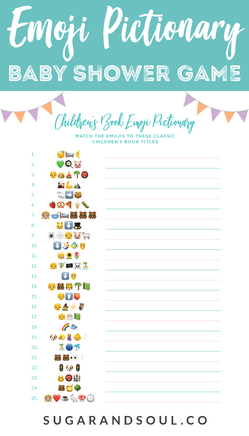 This Free Emoji Pictionary Baby Shower Game Printable Uses Emoji - Free Printable Baby Shower Games For Large Groups
