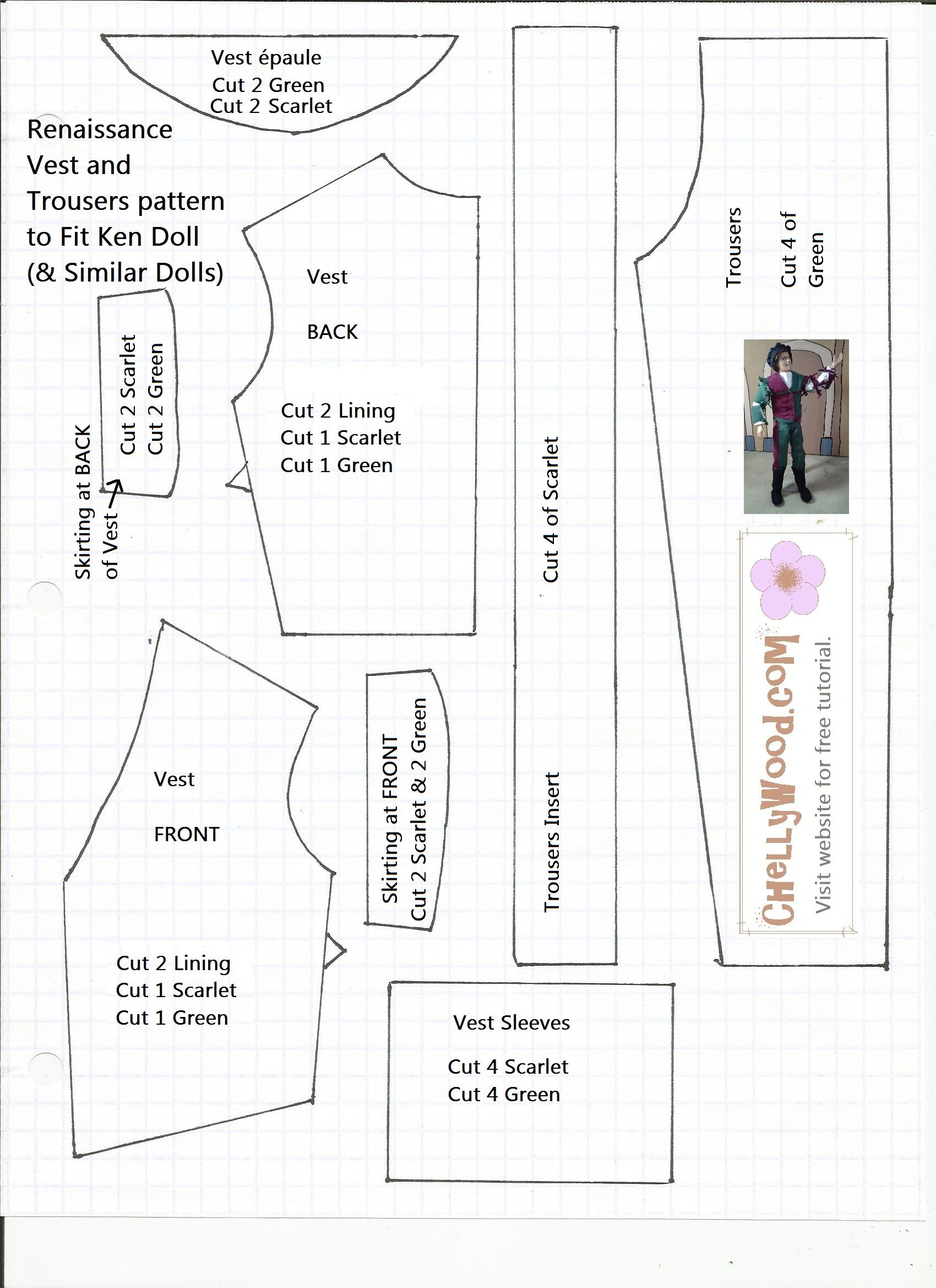 This Is A Free Pattern For A Renaissance Doublet And Trousers That - Ken Clothes Patterns Free Printable