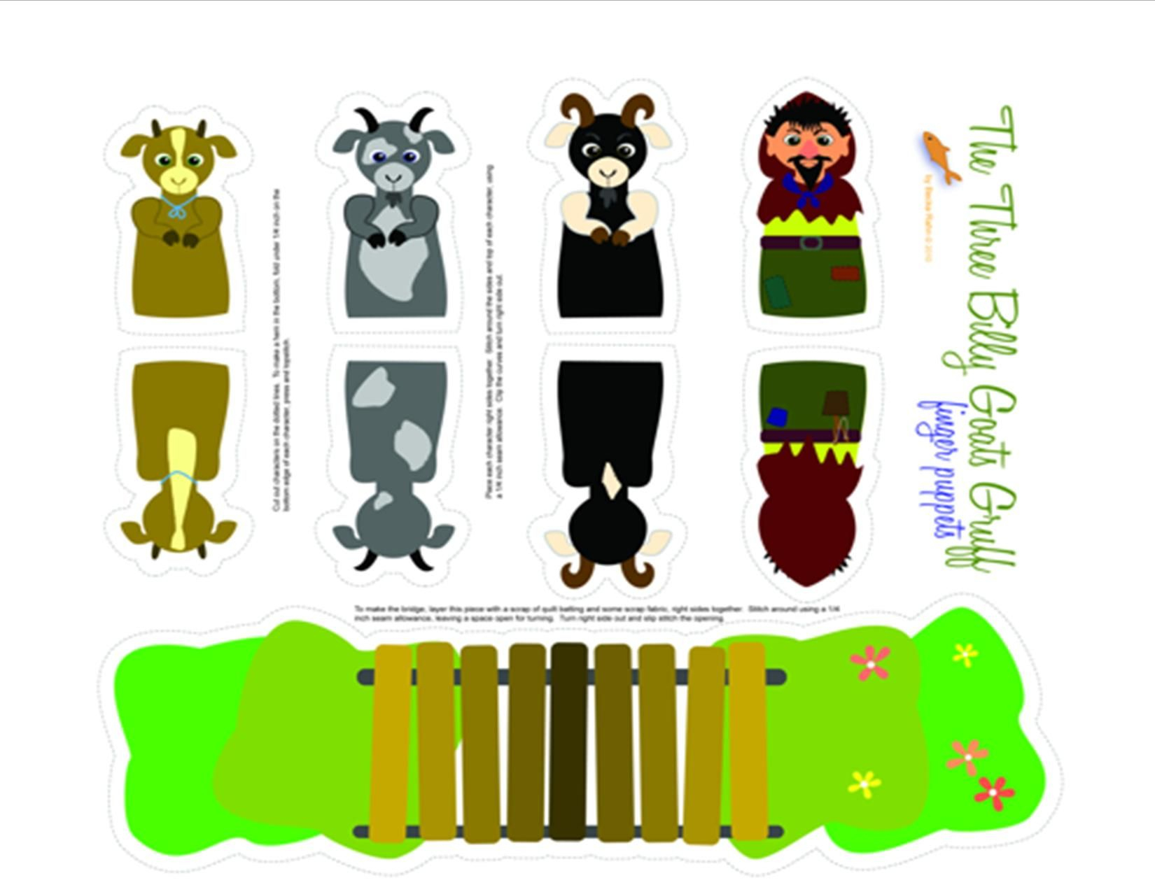 Three Billy Goats Gruff Printable Puppets   Pre-K   Pinterest - Three Billy Goats Gruff Masks Printable Free