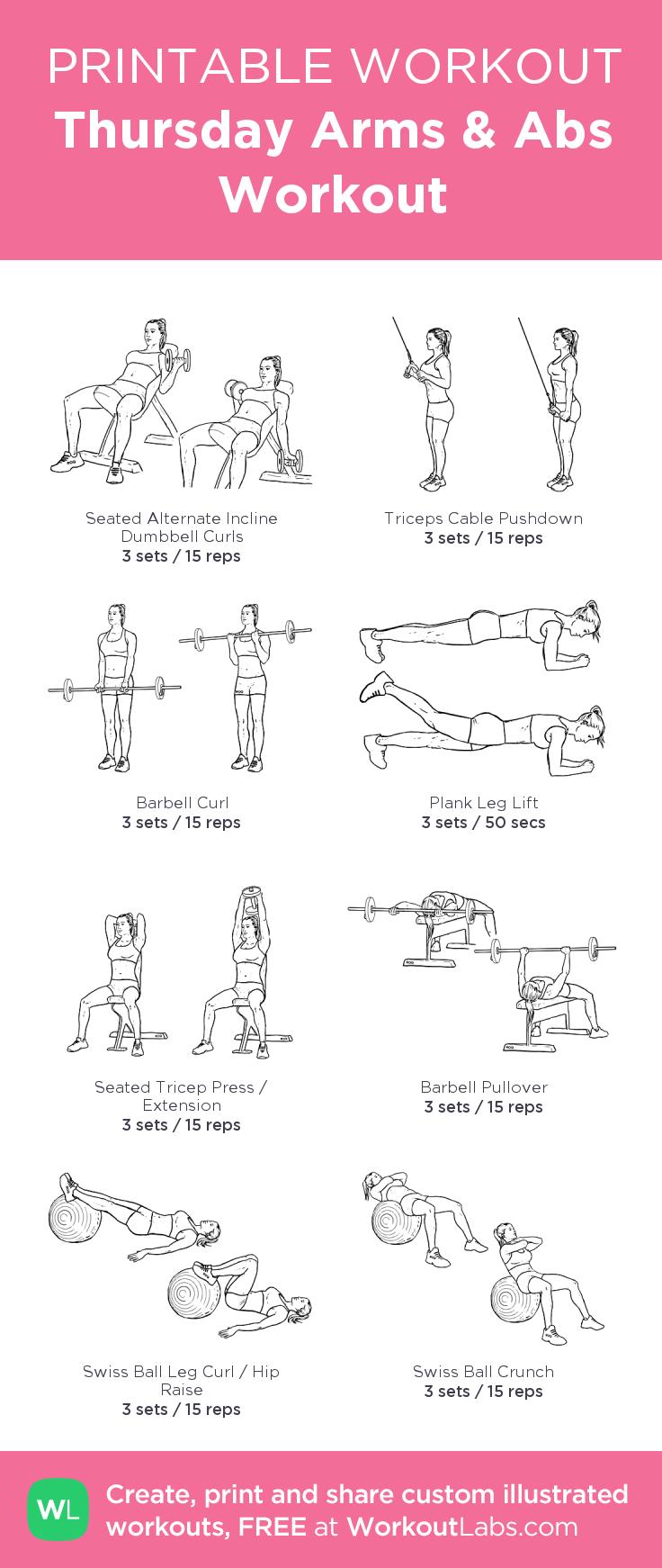 Thursday Arms Abs Workout: My Custom Printable Workout - Free Printable Gym Workout Routines