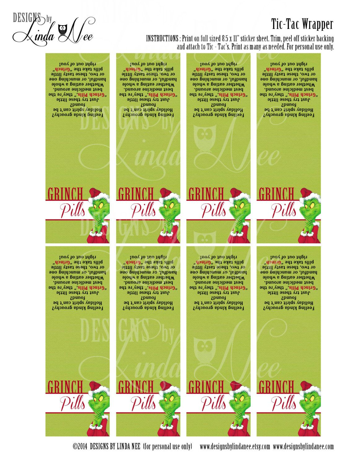 Tic Tac Grinch Pills With Poem Printabledesignsbylindanee - Grinch Pills Free Printable