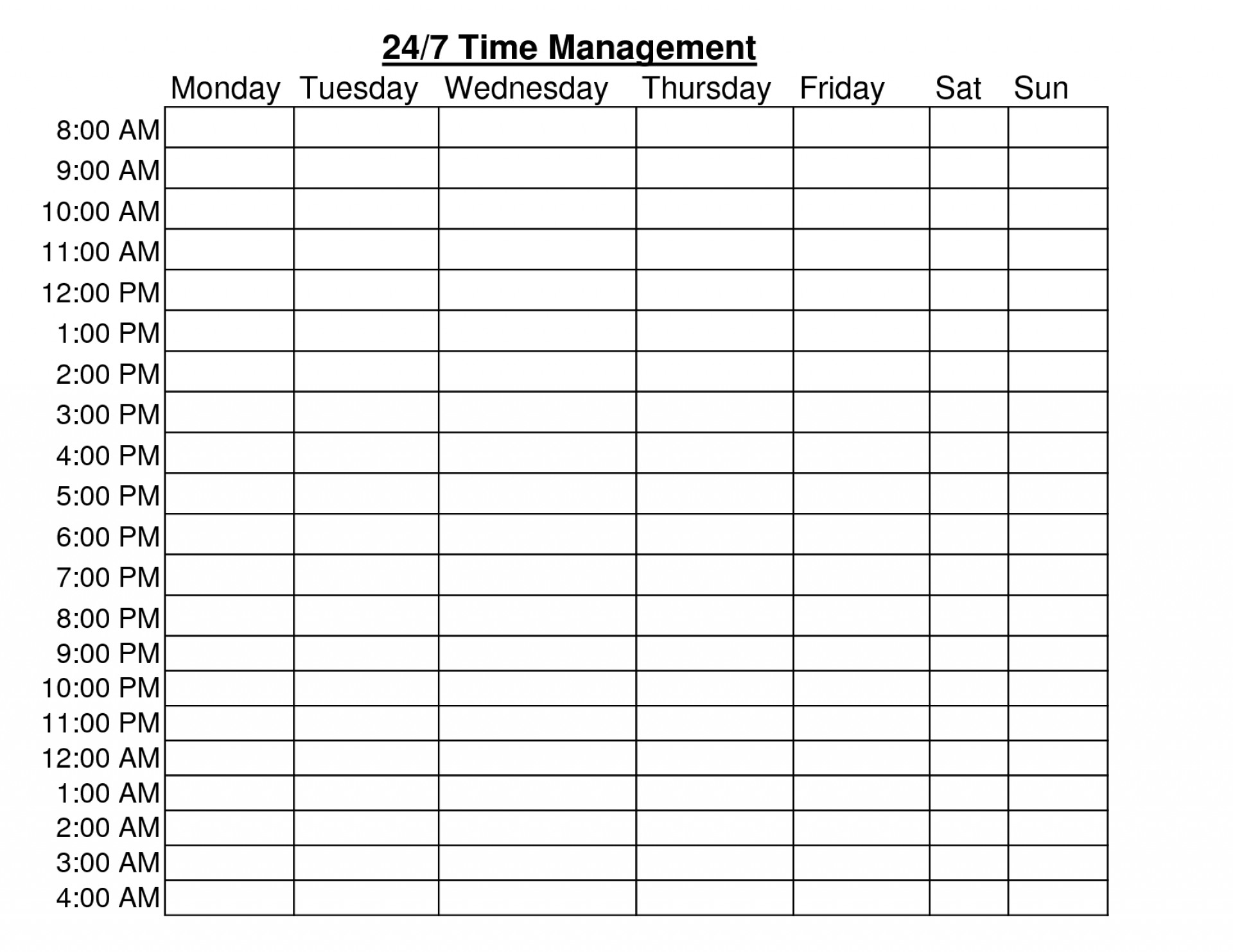 Time Table Format Pdf Schedule Template Free Planner Download Daily - Time Management Forms Free Printable