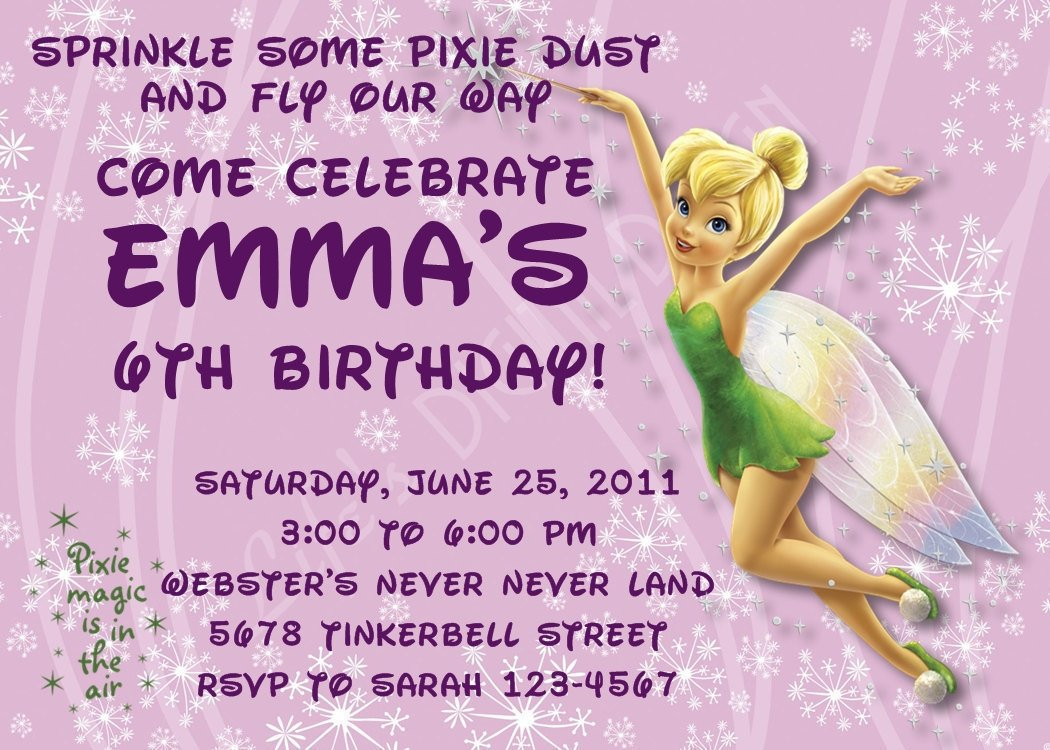Tinkerbell Birthday Invitations Customizable Printable | Etsy - Free Tinkerbell Printable Birthday Invitations