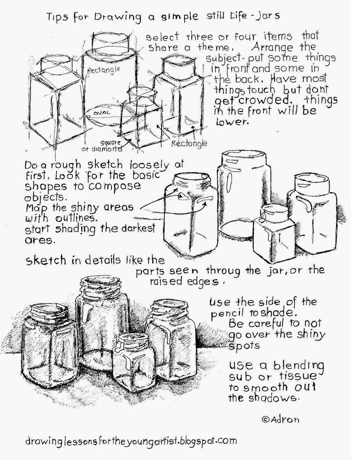 Tips For How To Draw A Still Life, Free Printable Worksheet. (How To - Free Printable Drawing Worksheets