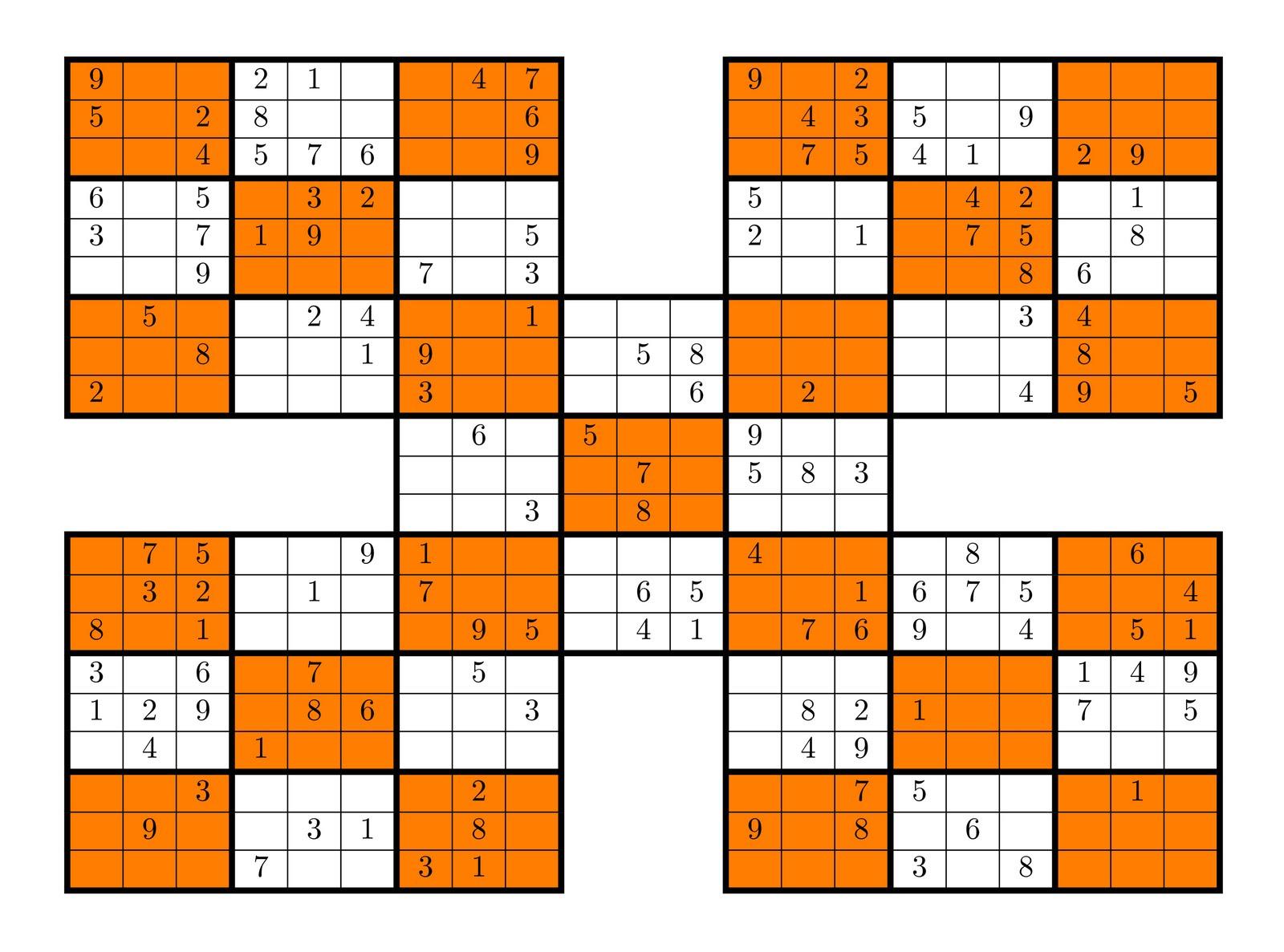 Tirpidz's Sudoku: #12 High Five Sudoku 9 X 9 - Sudoku 16X16 Printable Free